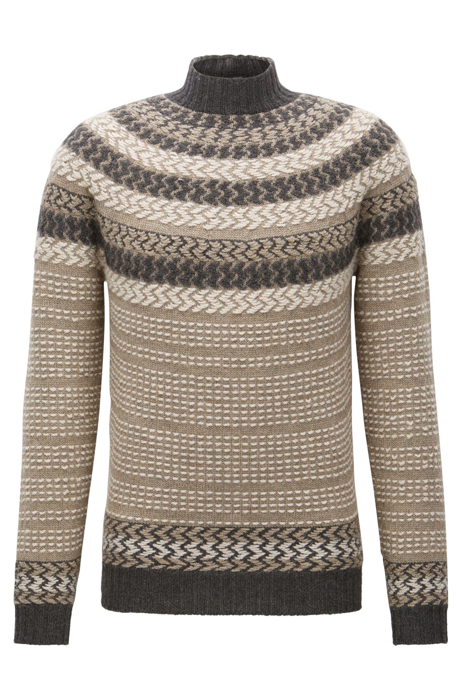 Virgin Wool-Alpaca Turtleneck Sweater | Nateus, Khaki