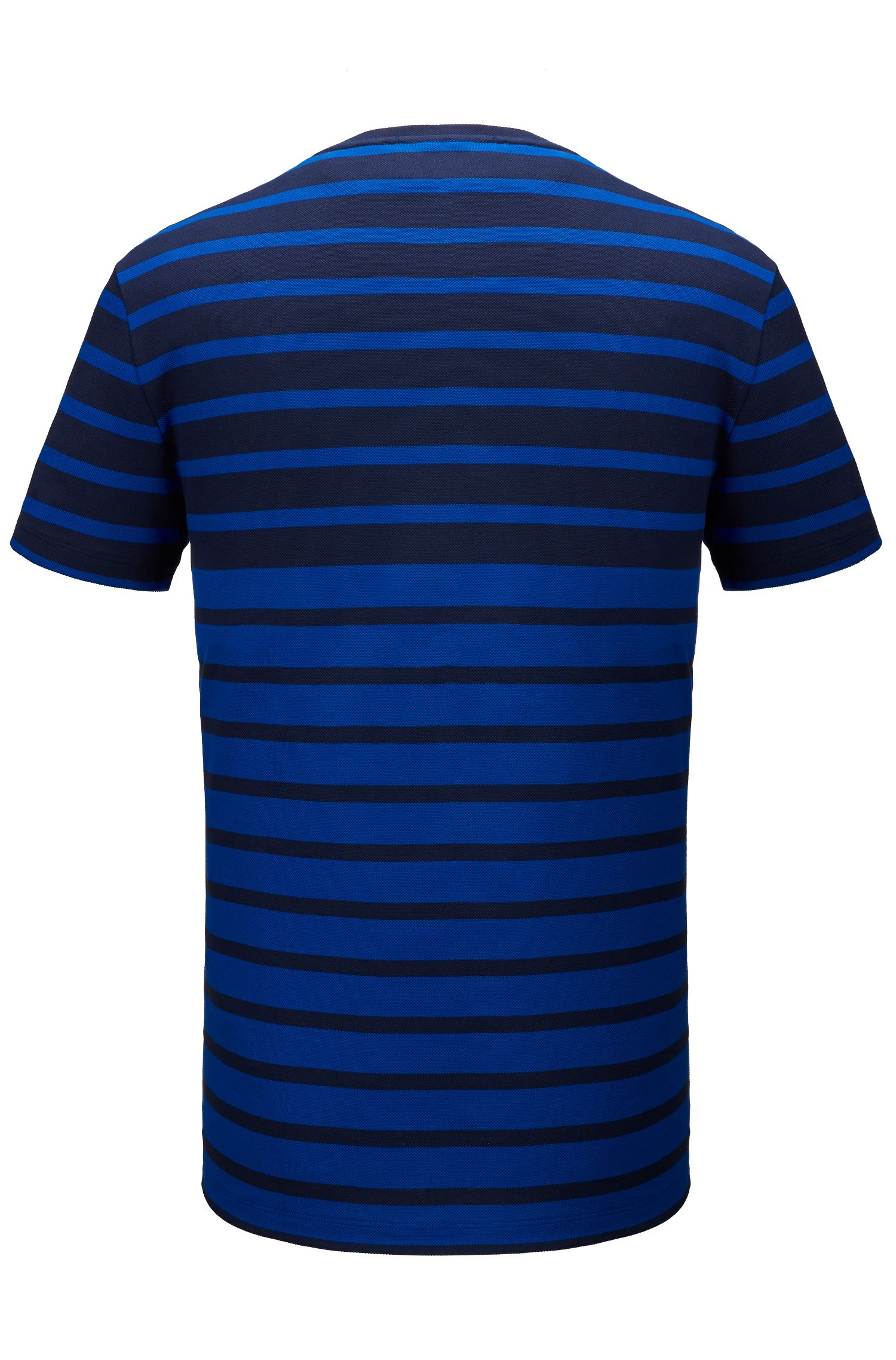 Striped Cotton T-Shirt | Tiburt, Open Blue