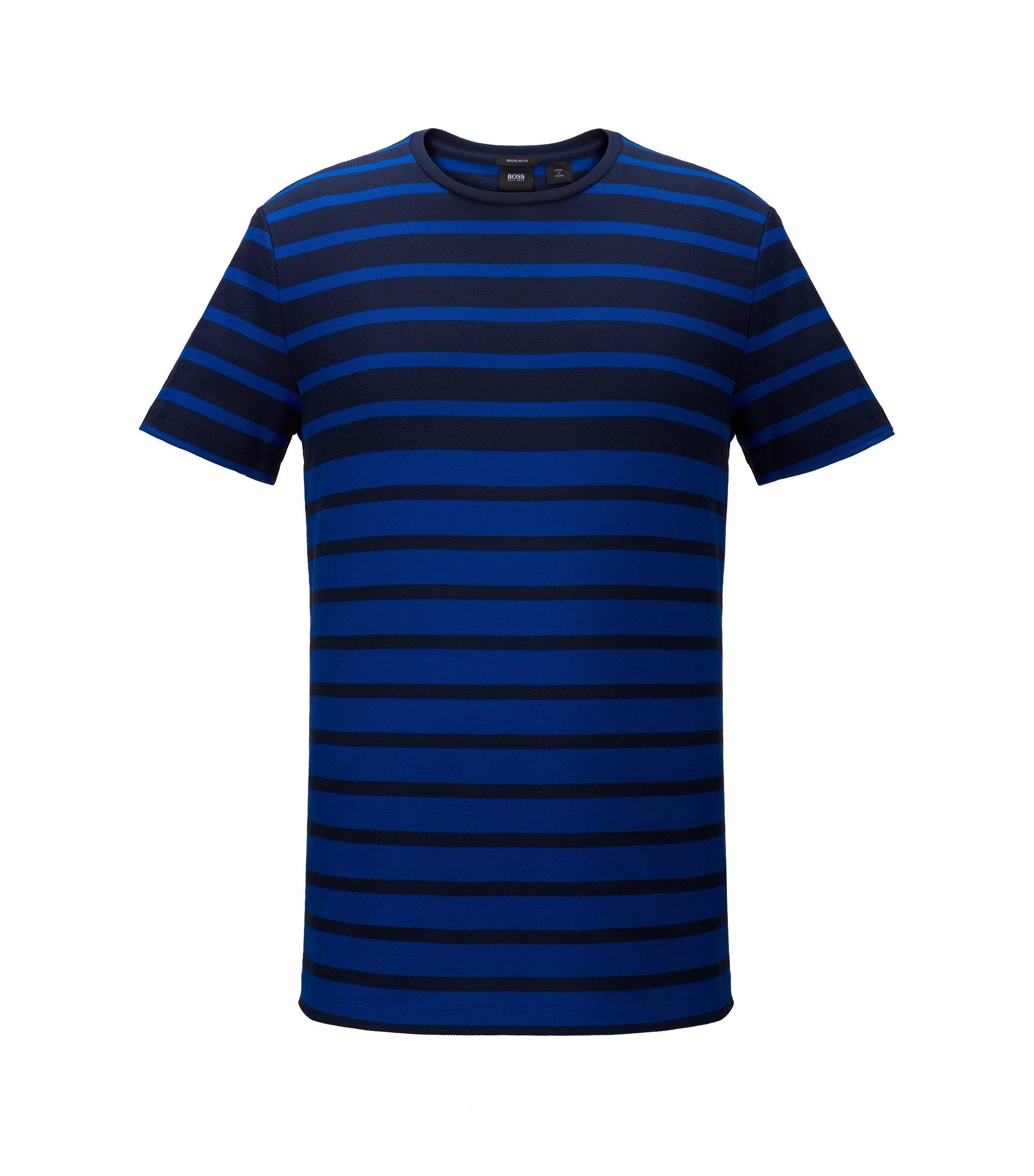 Striped Cotton T-Shirt | Tiburt, Open Blue