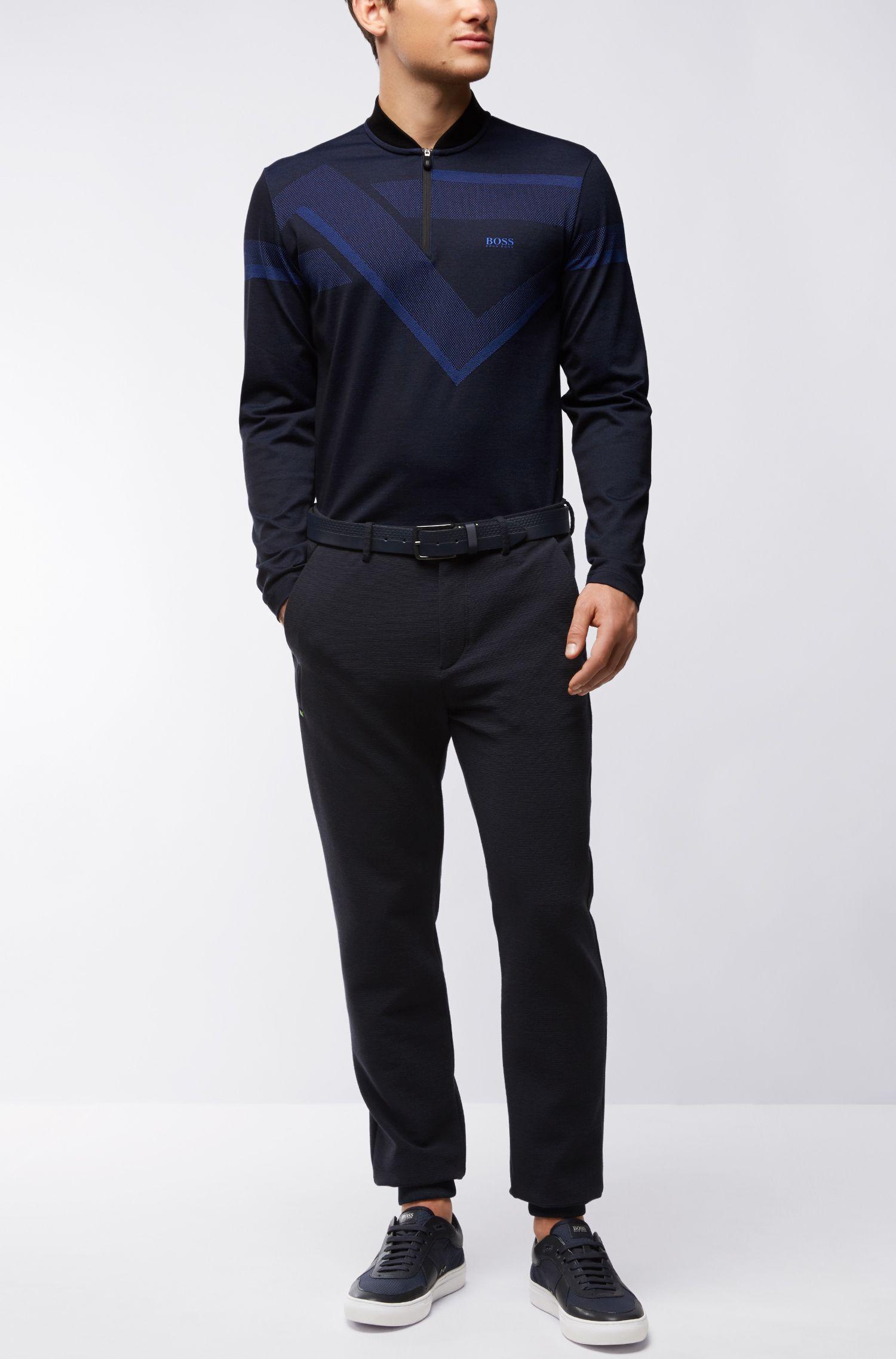 'Piraq' | Slim Fit, Stretch Polo Shirt, Black