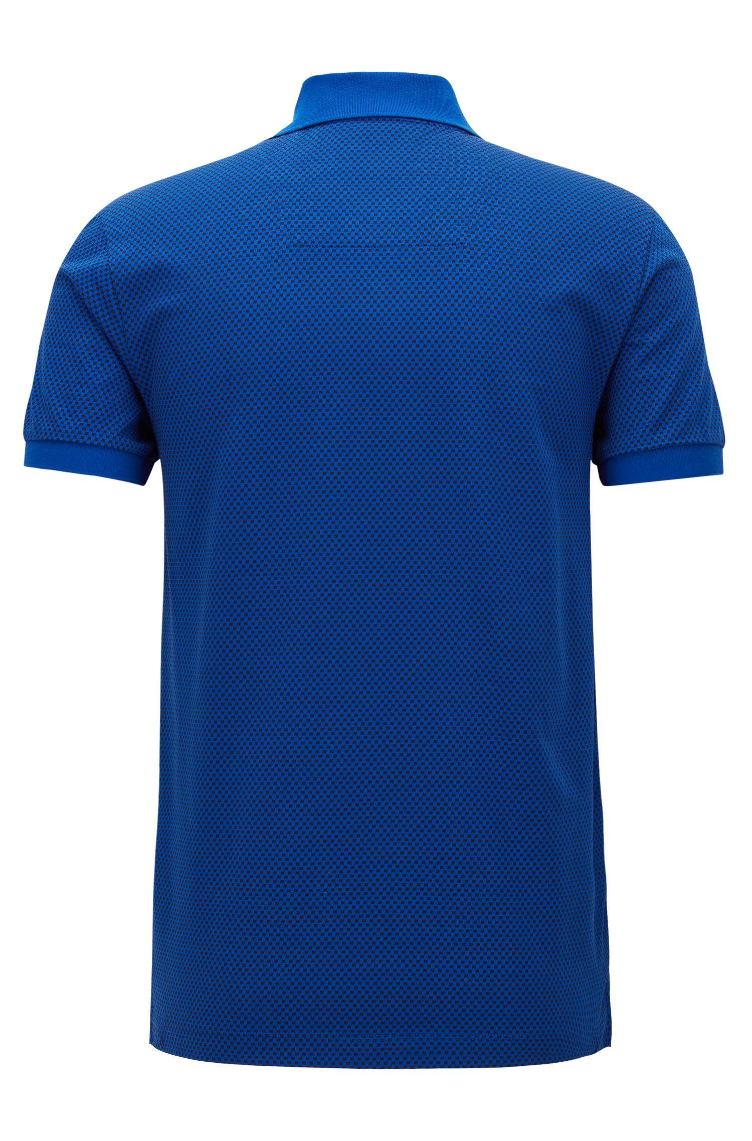 Micro-Print Cotton Polo Shirt, Slim Fit | Phillipson, Open Blue