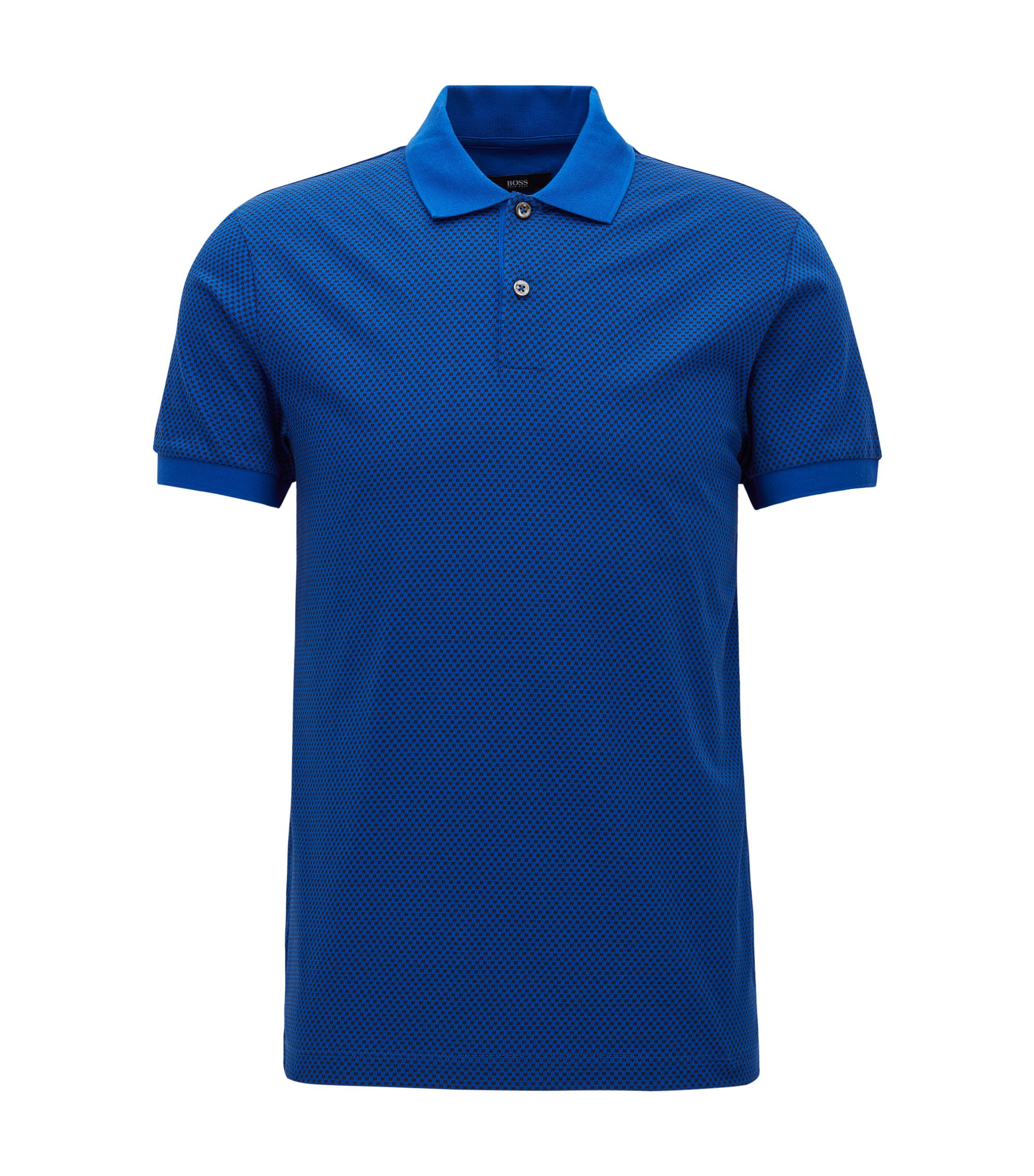 Micro-Print Cotton Polo Shirt, Slim Fit | Phillipson, Open Blue