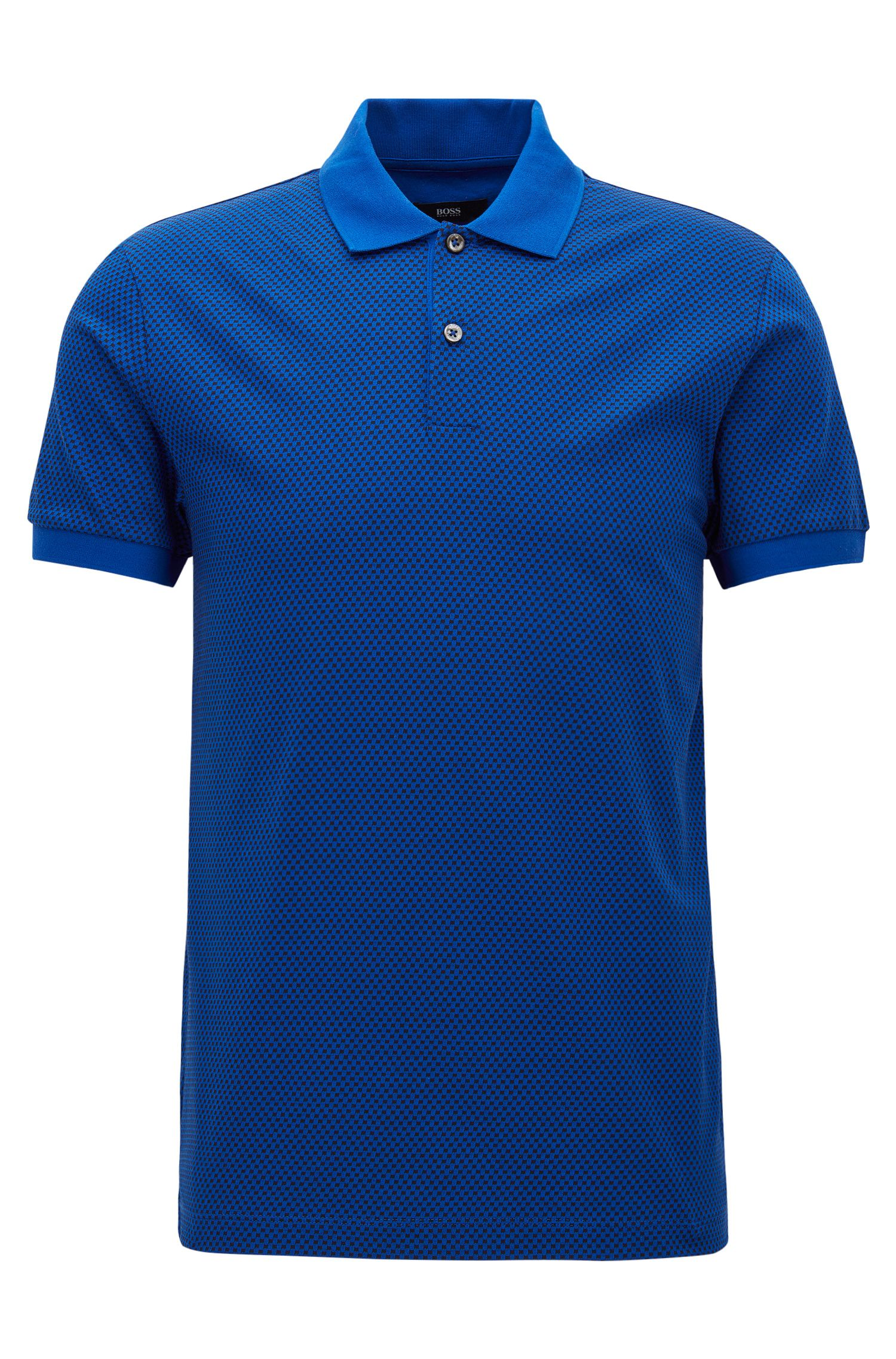 Slim Fit, Micro-Print Cotton Polo Shirt | Phillipson