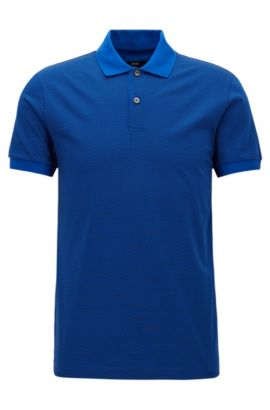 Slim Fit, Micro-Print Cotton Polo Shirt | Phillipson, Open Blue