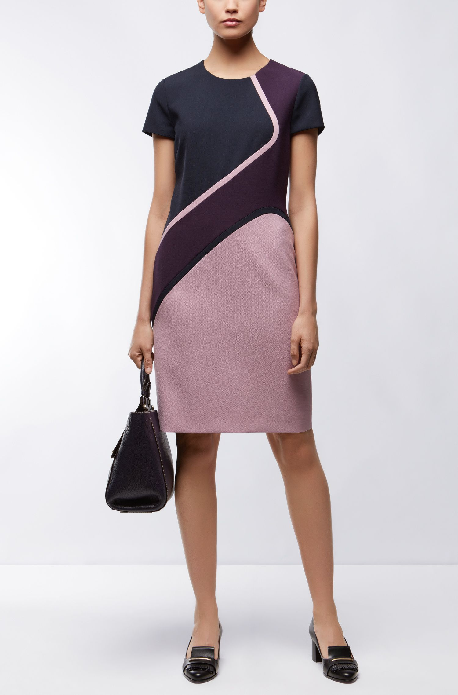 Colorblocked Stretch Viscose Dress | Dukatia, Dark Purple