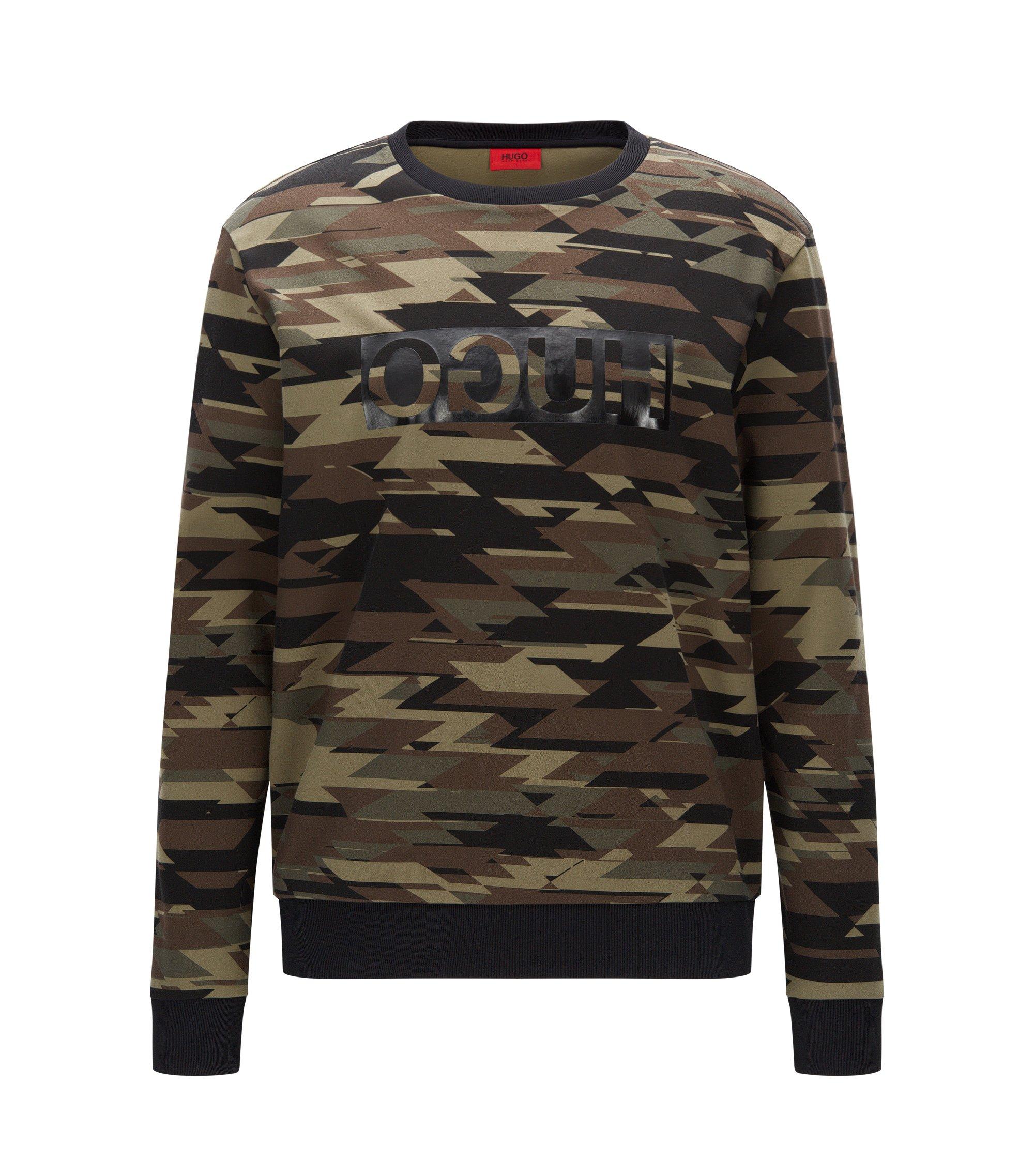 Camouflage Cotton Sweatershirt | Driggs, Dark Green