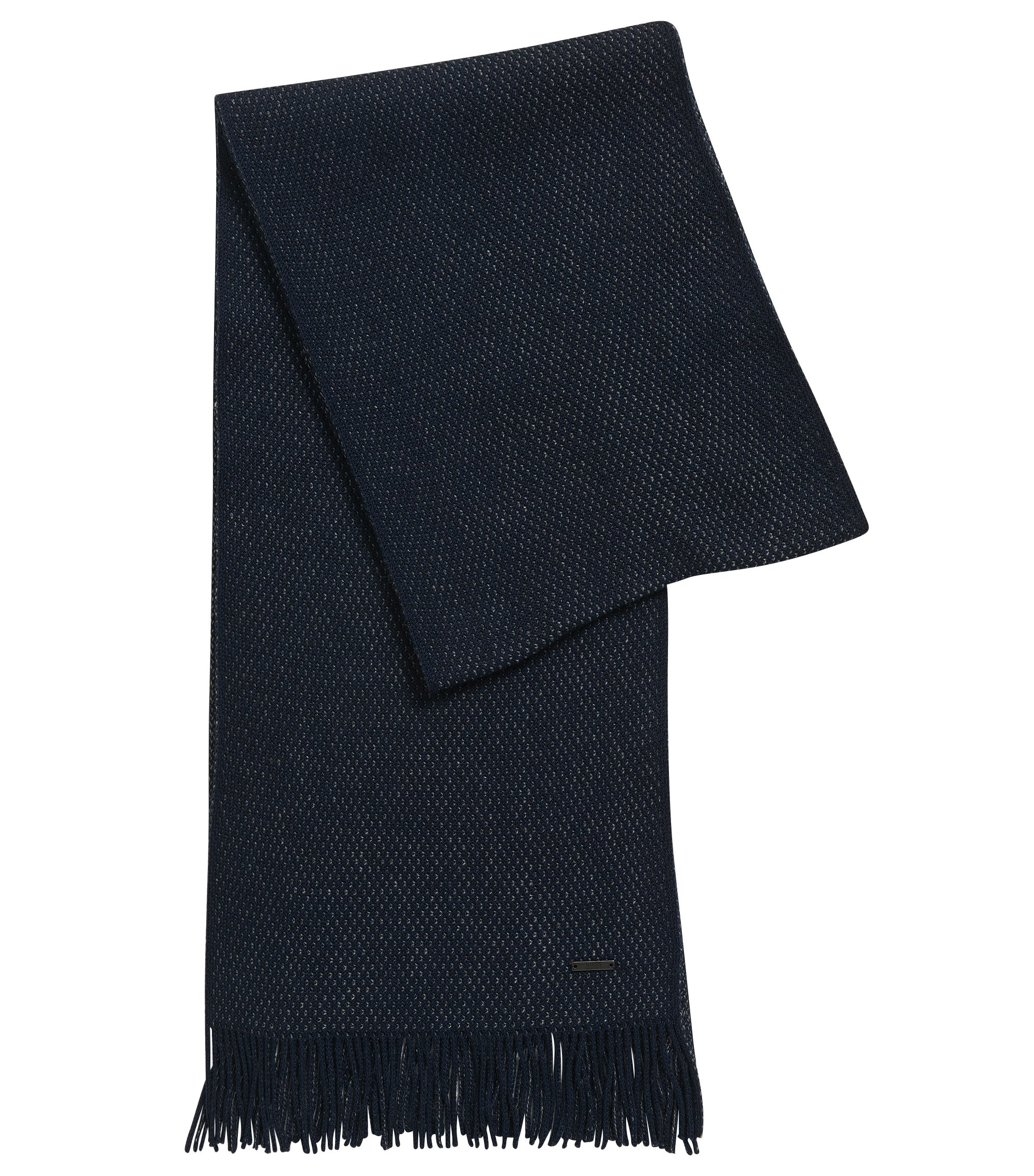 Warp-Knit Virgin Wool Scarf | Albas, Dark Blue
