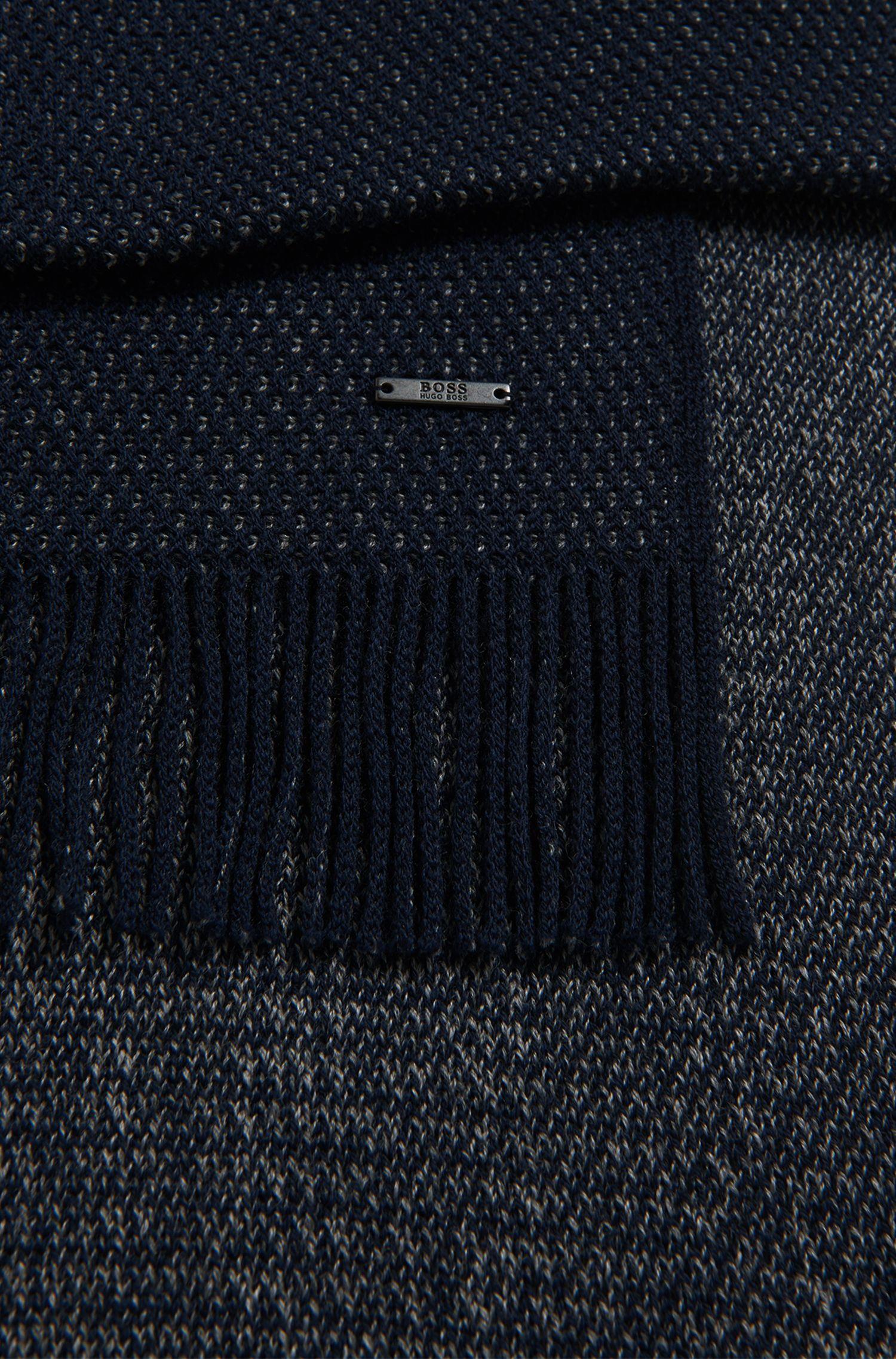 Warp-Knit Virgin Wool Scarf | Albas, Dark Blue