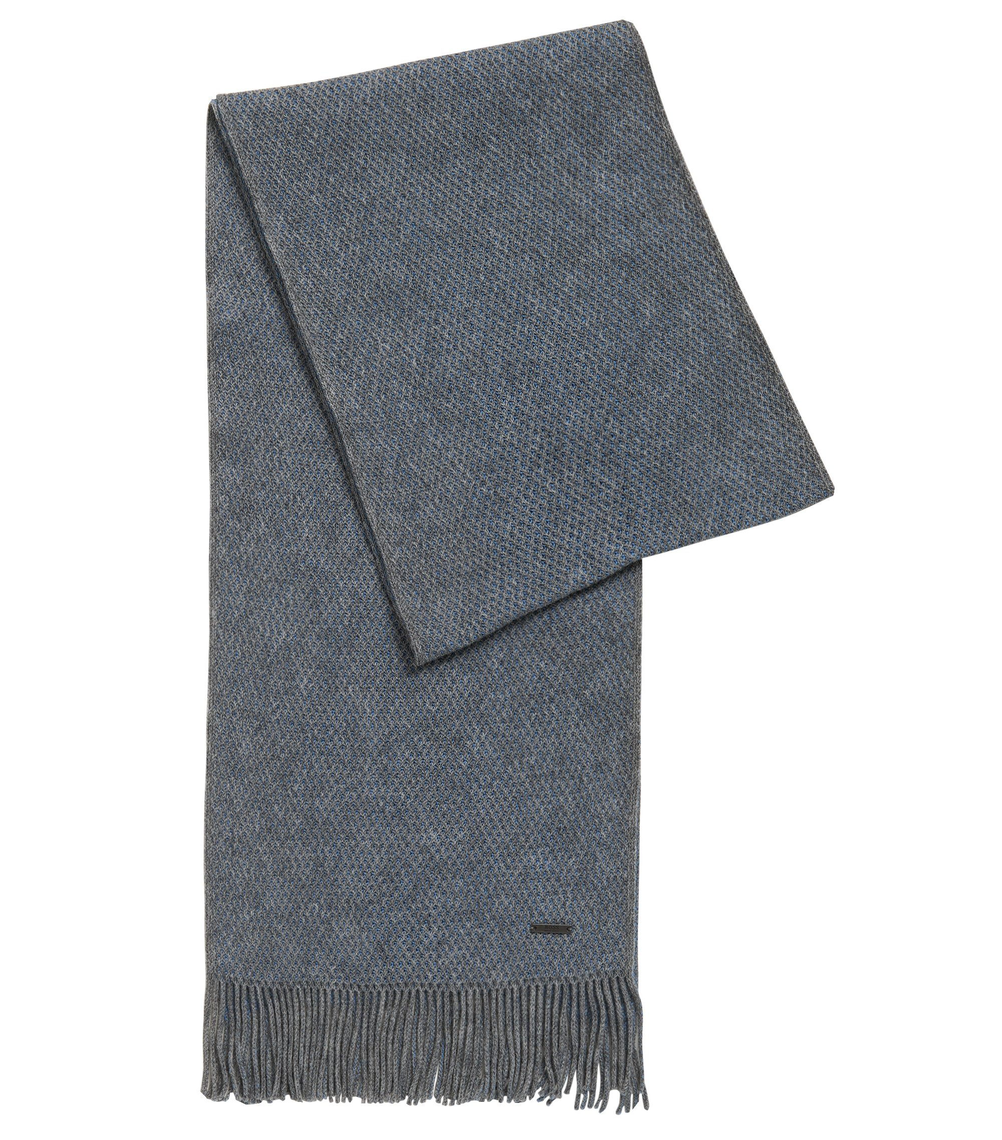Warp-Knit Virgin Wool Scarf | Albas, Open Blue