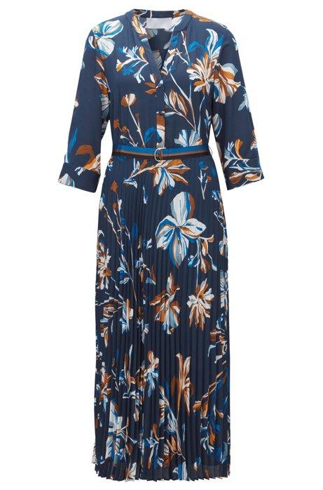 Floral Crepe Pleated Dress | Diplisa, Patterned
