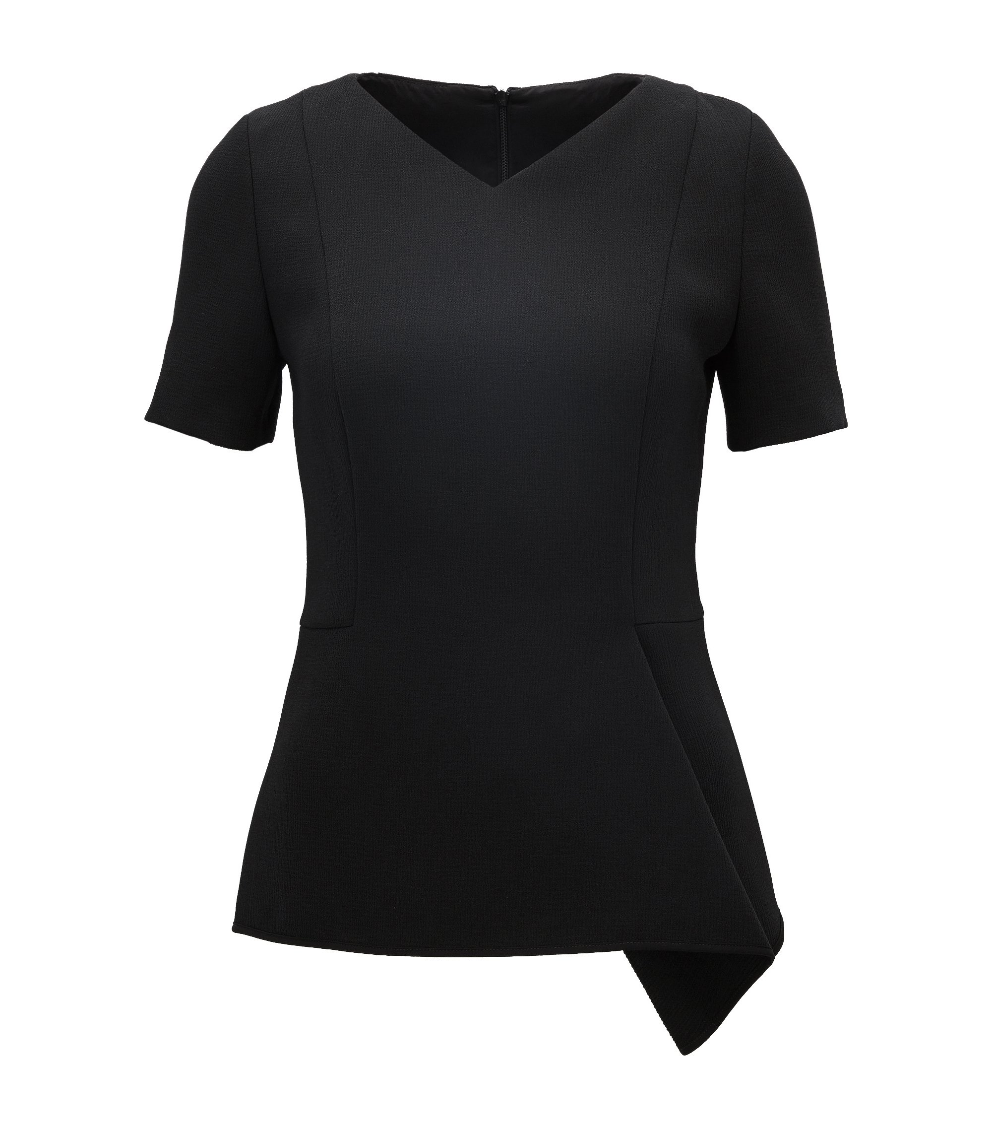 Crepe V-Neck Top | Ilafea, Black