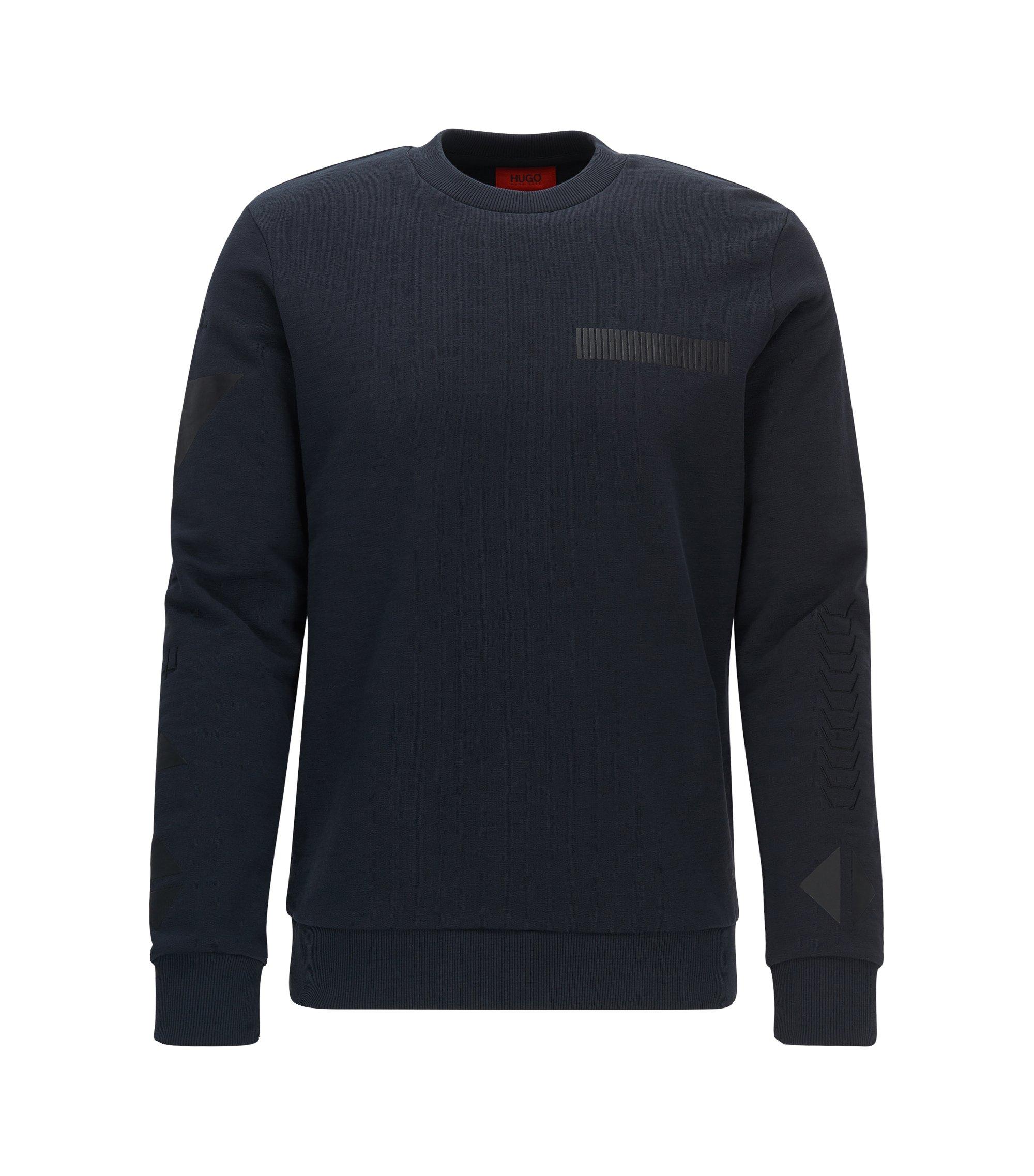 Printed Fleece Cotton Sweatershirt | Dopkins, Dark Blue