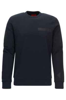 Printed Fleece Cotton Sweatershirt | Dopkins, Dark Blue