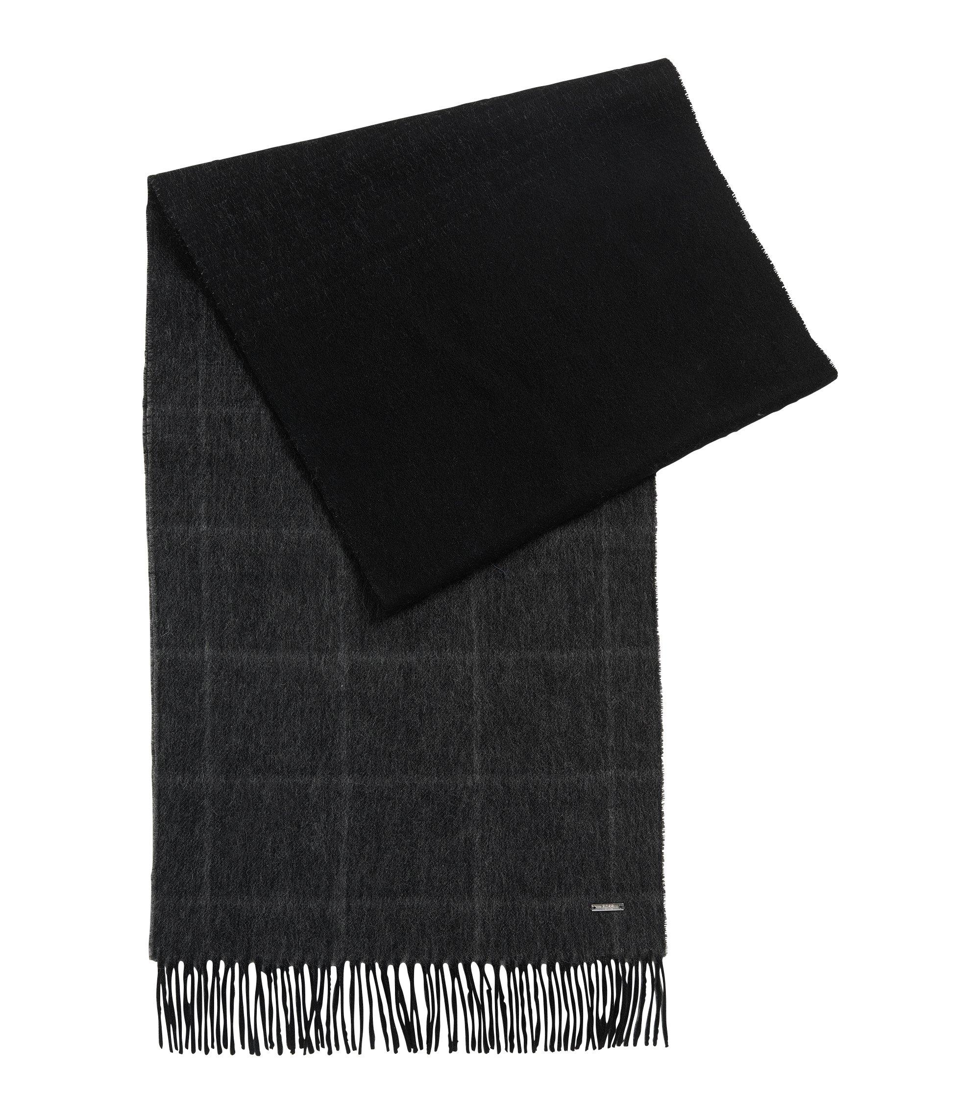 Windowpane Virgin Wool-Cashmere Scarf | Hereno, Black