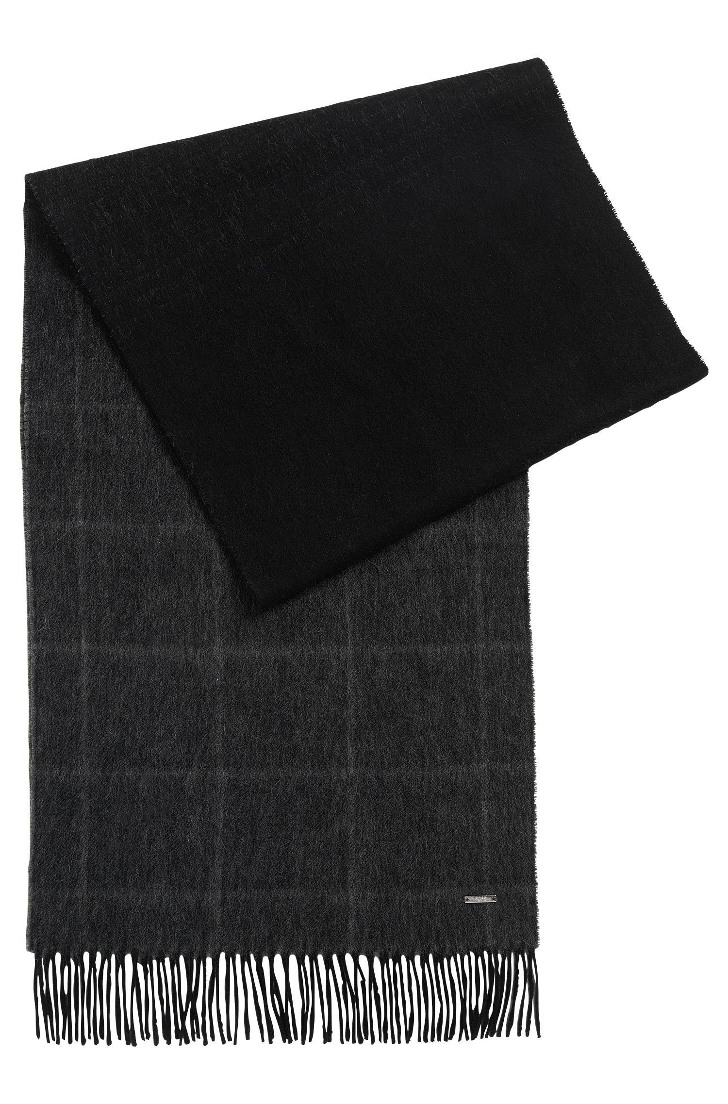 Windowpane Virgin Wool-Cashmere Scarf | Hereno