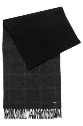 'Hereno' | Windowpane Virgin Wool-Cashmere Scarf, Black