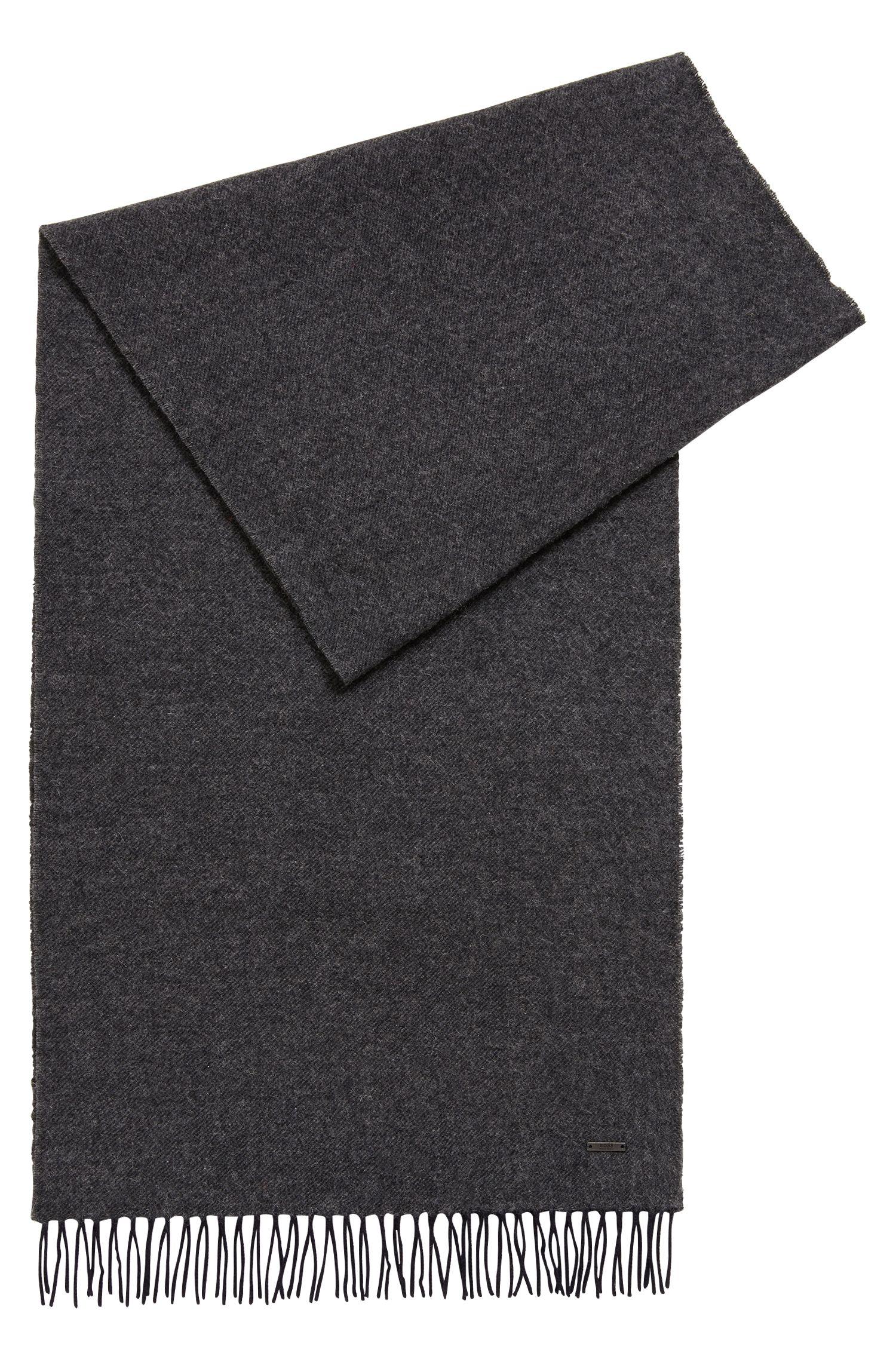 Melange-effect wool scarf, Open Blue