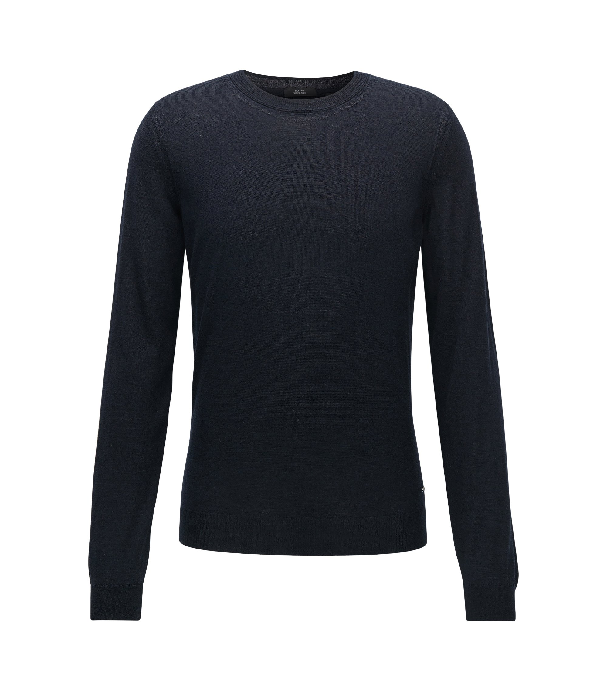 Virgin Wool-Silk Sweater | T-Ion, Dark Blue