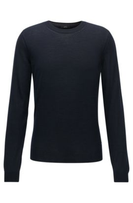 'T-Ion' | Virgin Wool-Silk Sweater, Dark Blue