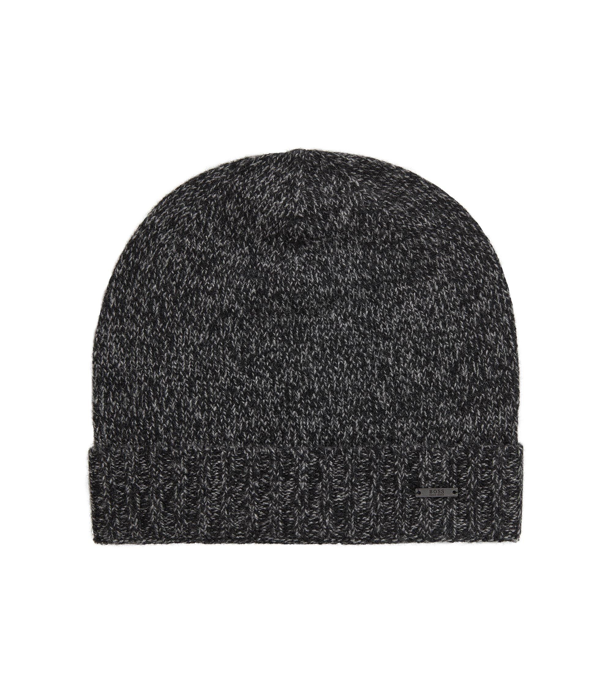 Beanie hat in mouliné cashmere, Black