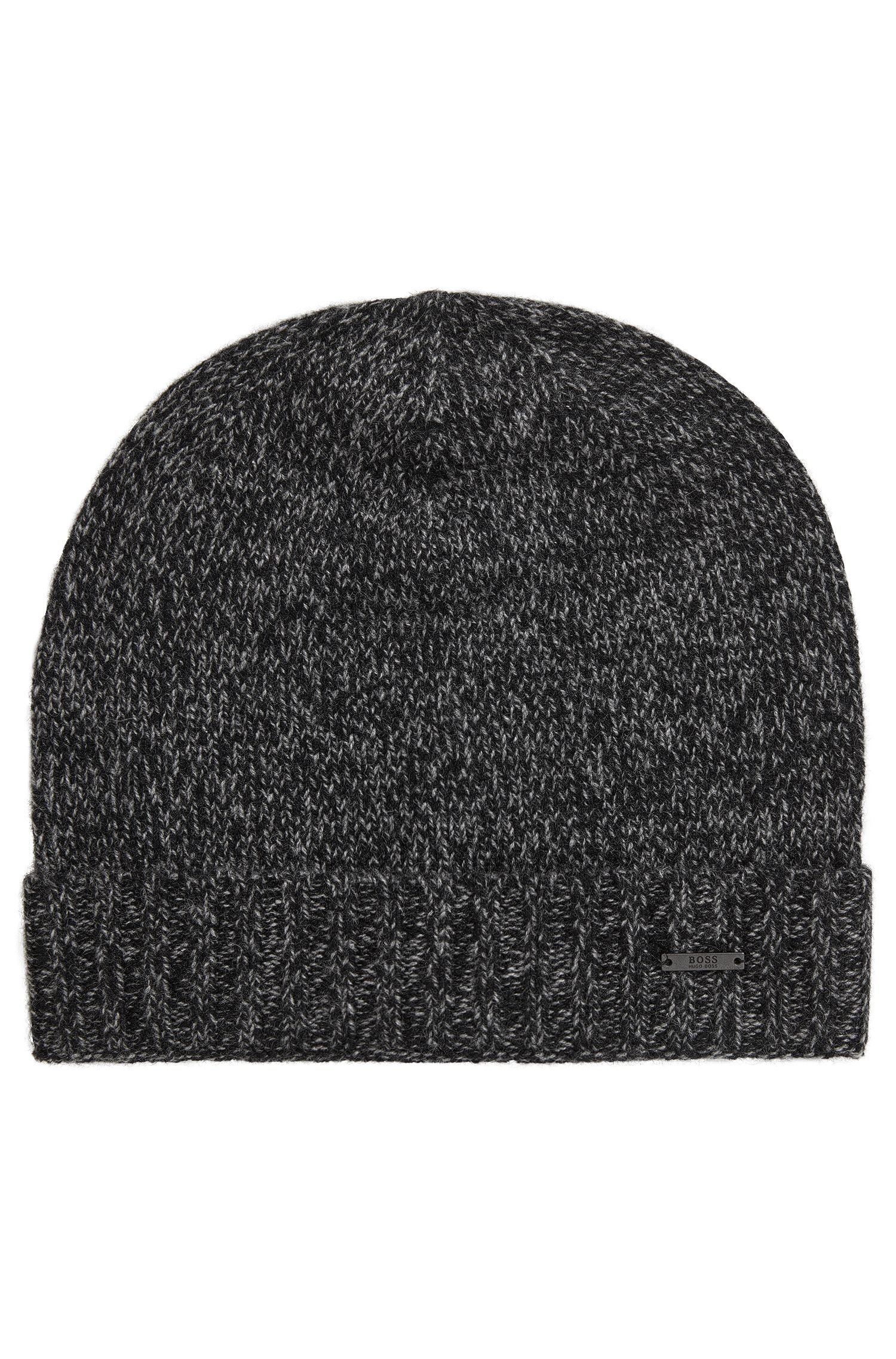 Beanie hat in mouliné cashmere, Black