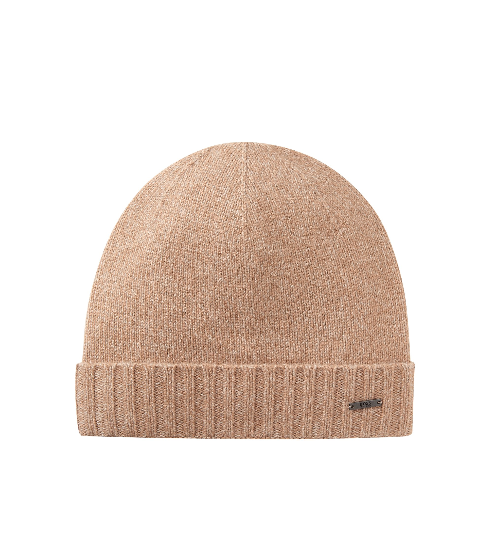 Beanie hat in mouliné cashmere, Beige
