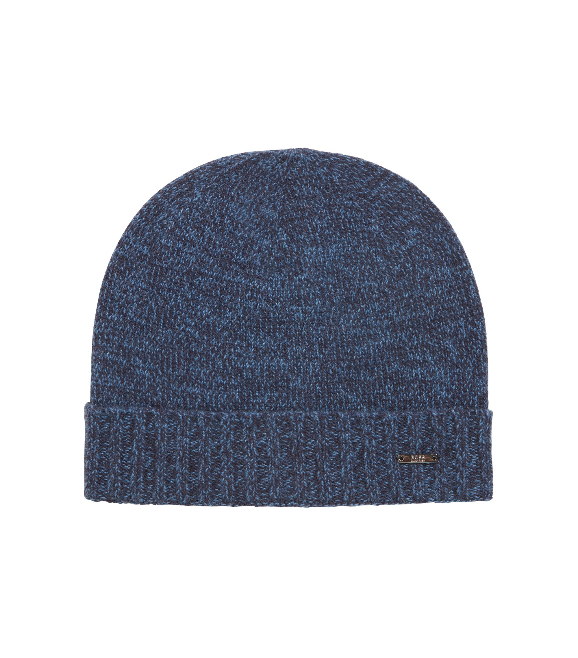 Beanie hat in mouliné cashmere, Open Blue