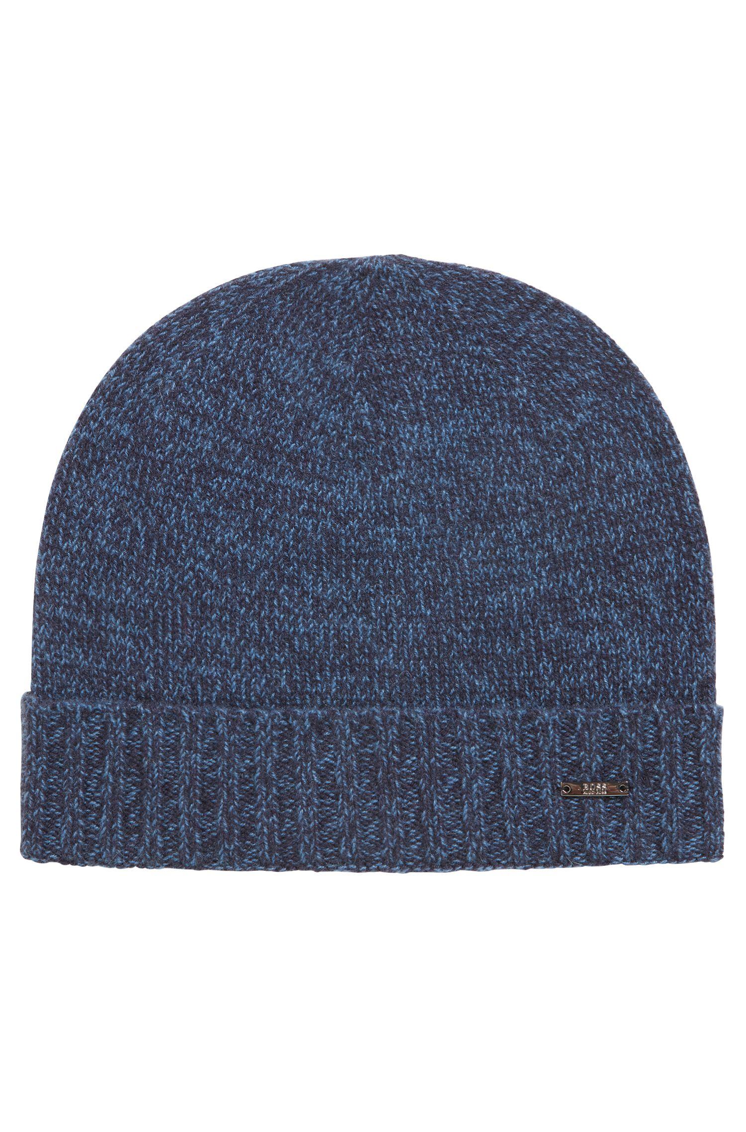 Beanie hat in mouliné cashmere, Open Blue