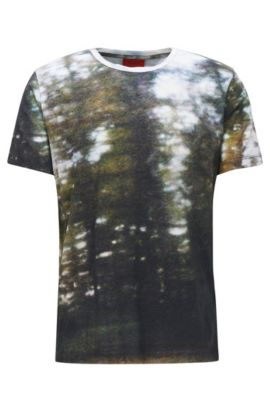 'Darview' | Cotton Digital-Print T-Shirt, Dark Green