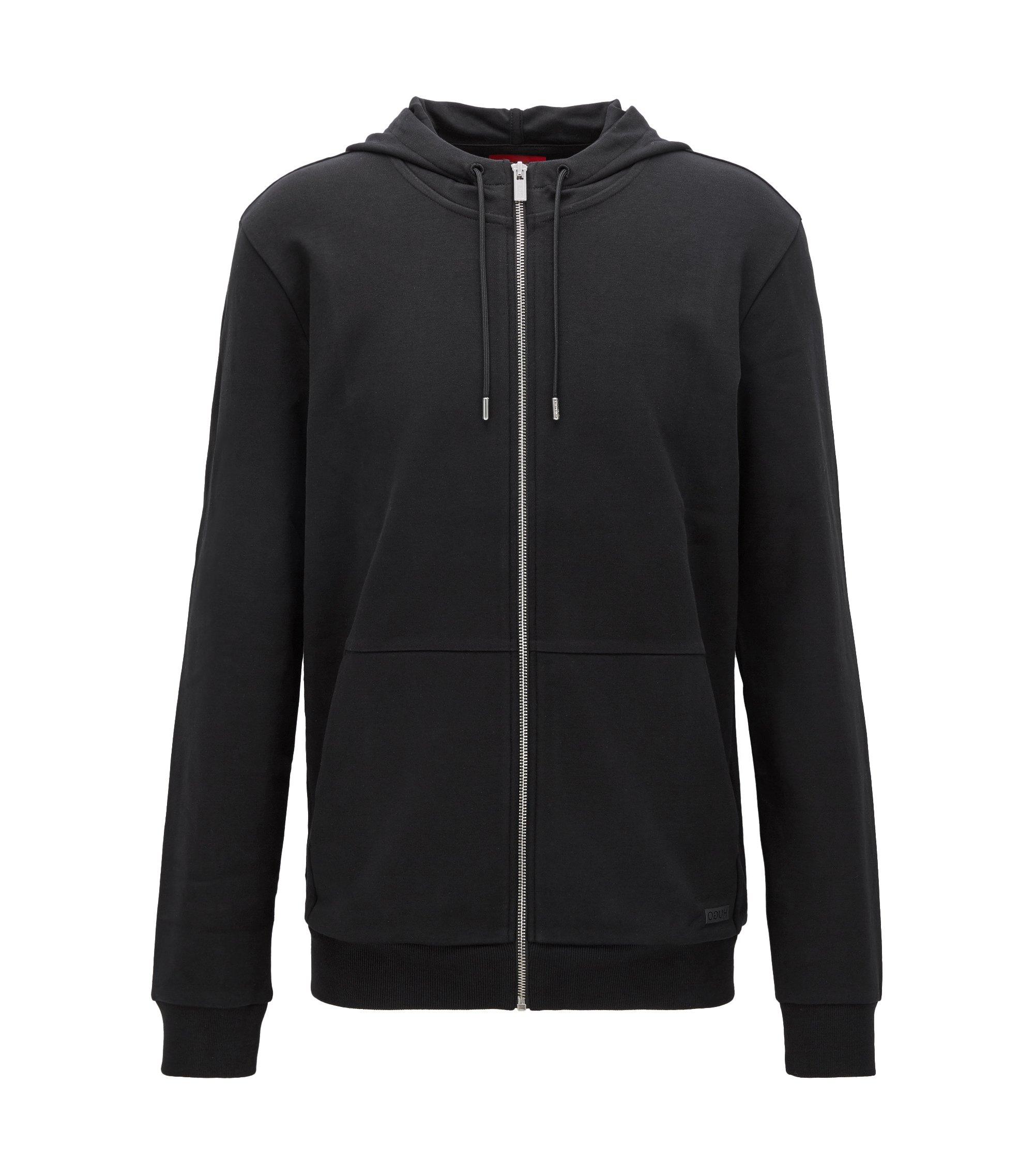 Cotton Full-Zip Hooded Sweater | Dattis, Black