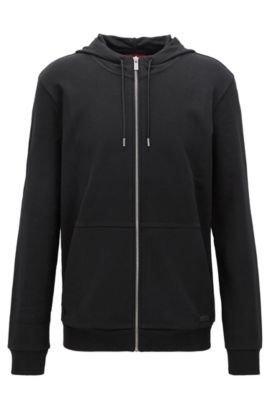 'Dattis' | Cotton Full-Zip Hooded Sweater, Black