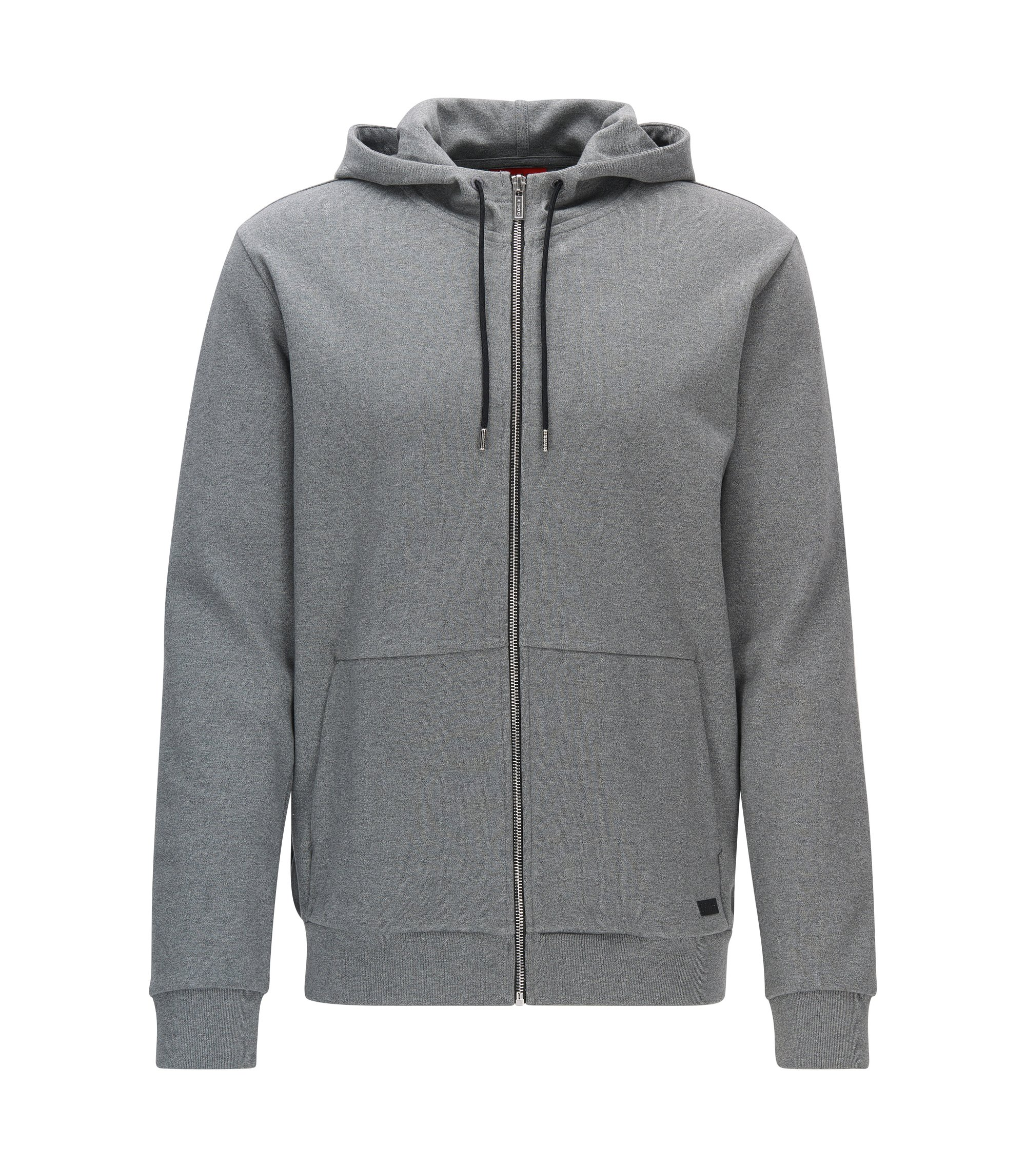 Cotton Full-Zip Hooded Sweater | Dattis, Open Grey