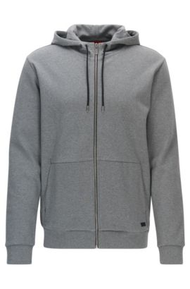 Cotton Full-Zip Hooded Sweater | Dattis, Open Grey