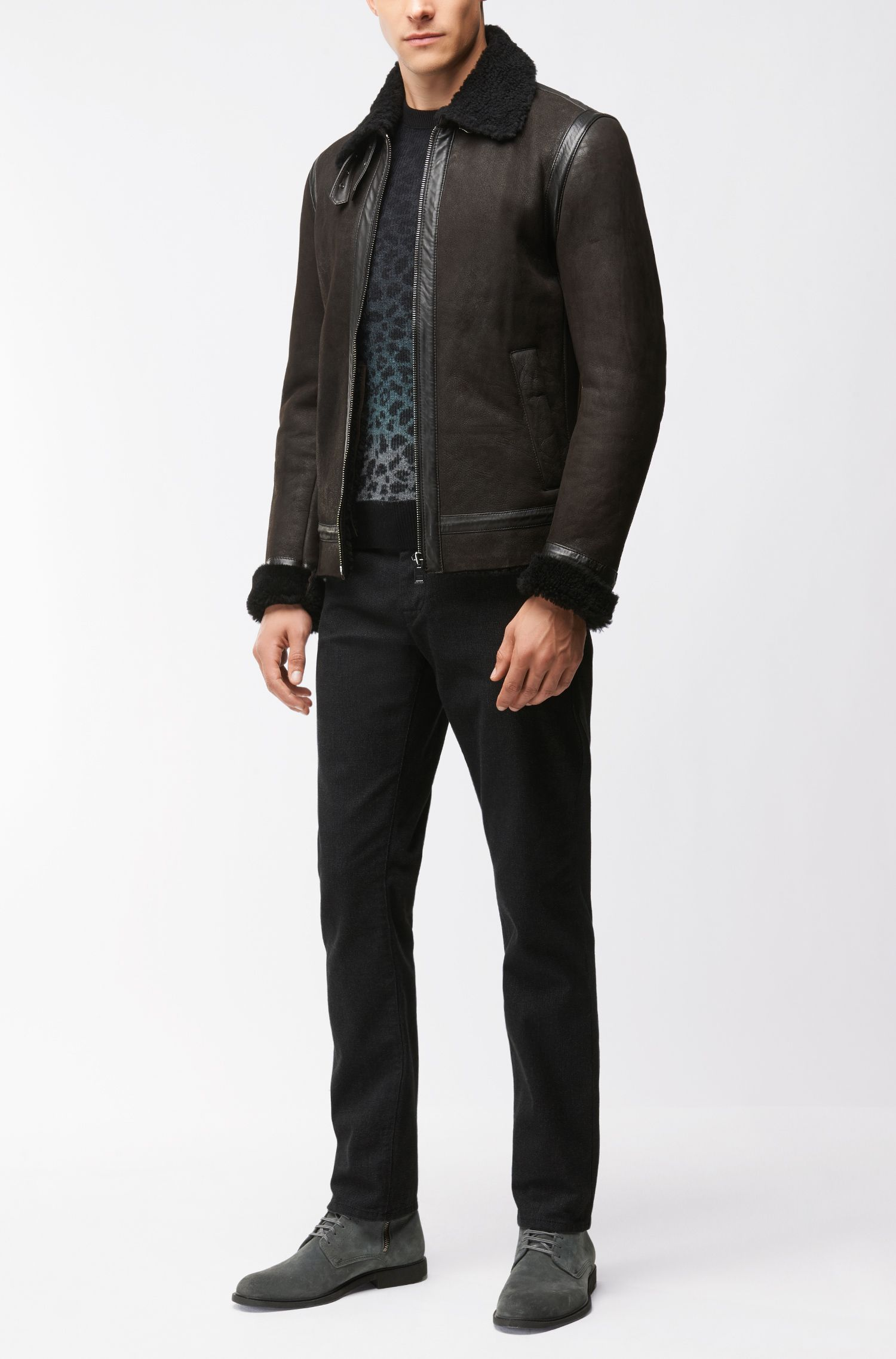 'Kapard' | Regular Fit, Leopard-Print Stretch Cotton Blend Sweater