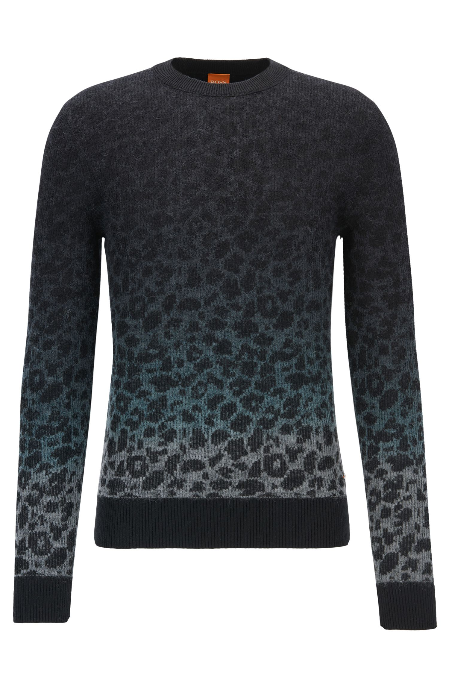 'Kapard' | Regular Fit, Leopard-Print Stretch Cotton Blend Sweater, Light Grey