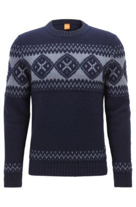 'Kionas' | Virgin Wool Blend Fair Isle Sweater, Dark Blue