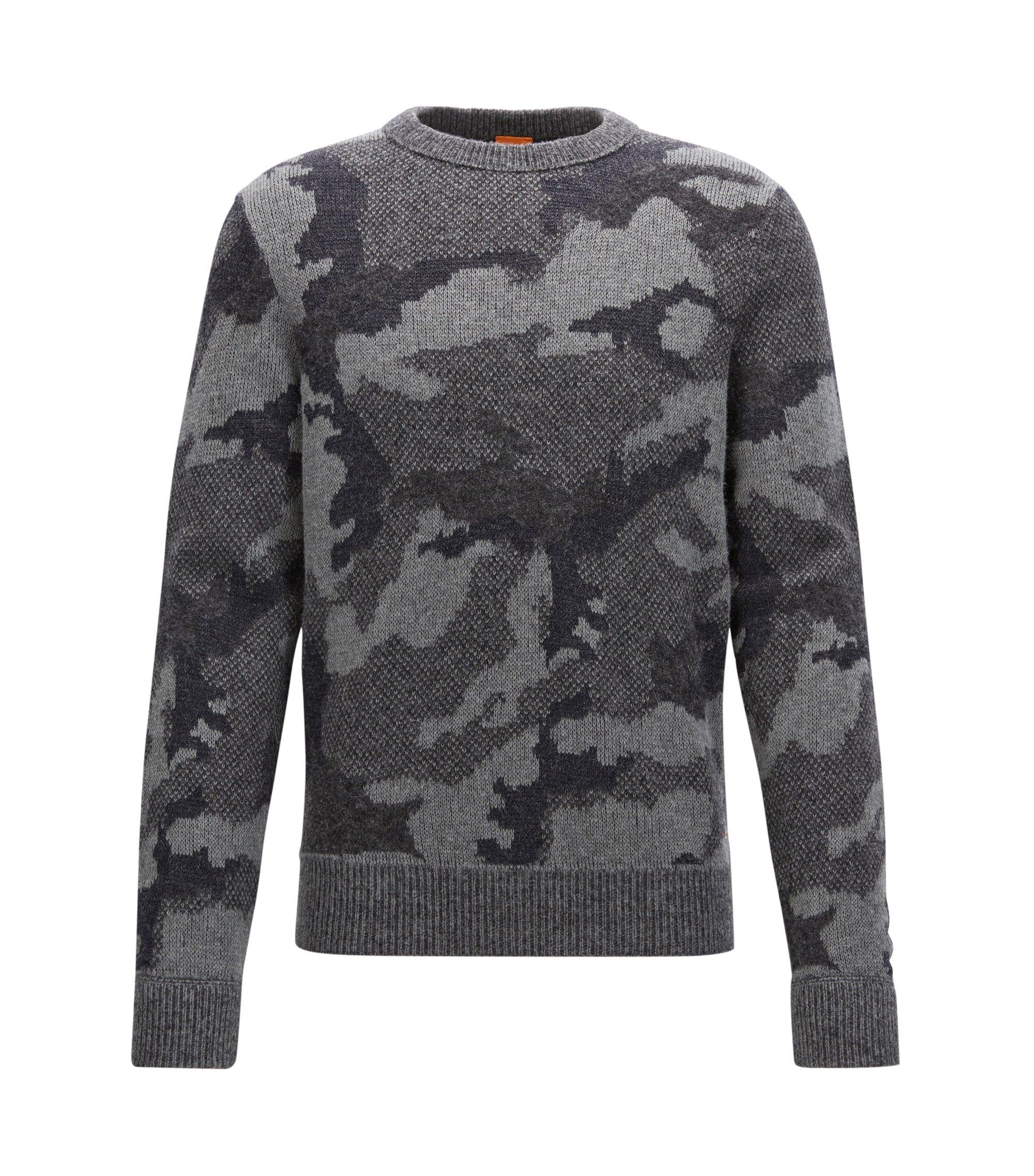 'Armieto' | Camouflage Wool Blend Sweater, Dark Blue