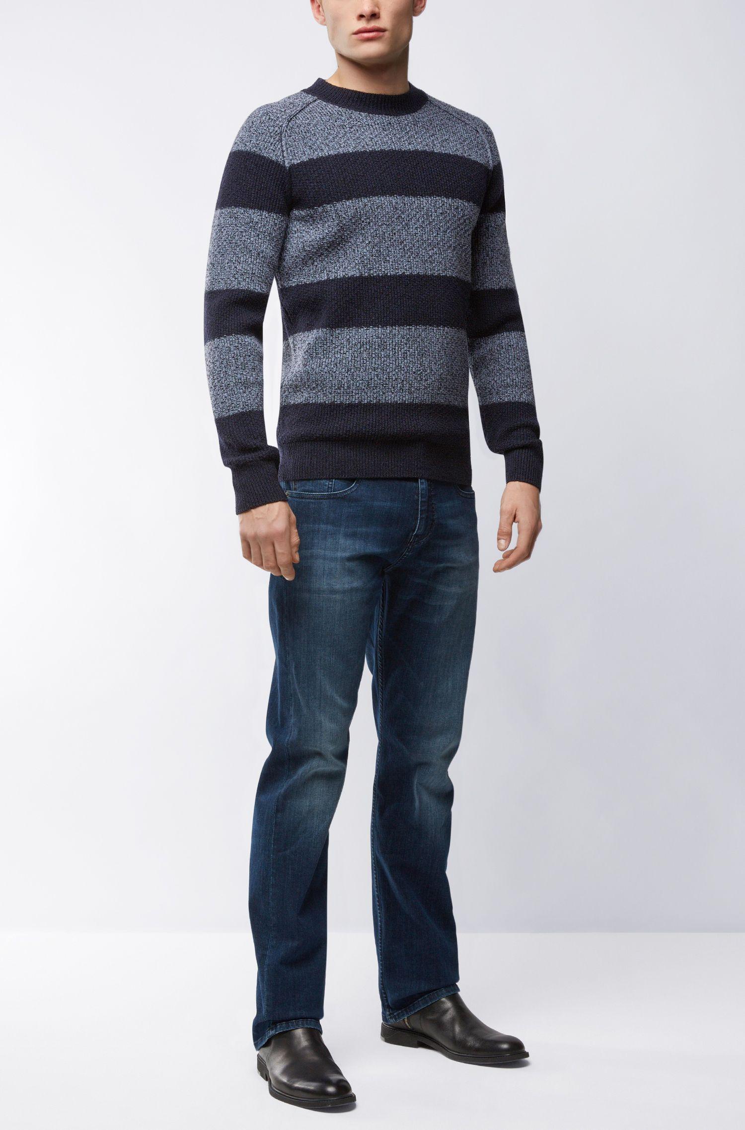 'Arbieri' | Striped Cotton-Wool Blend Sweater, Dark Blue