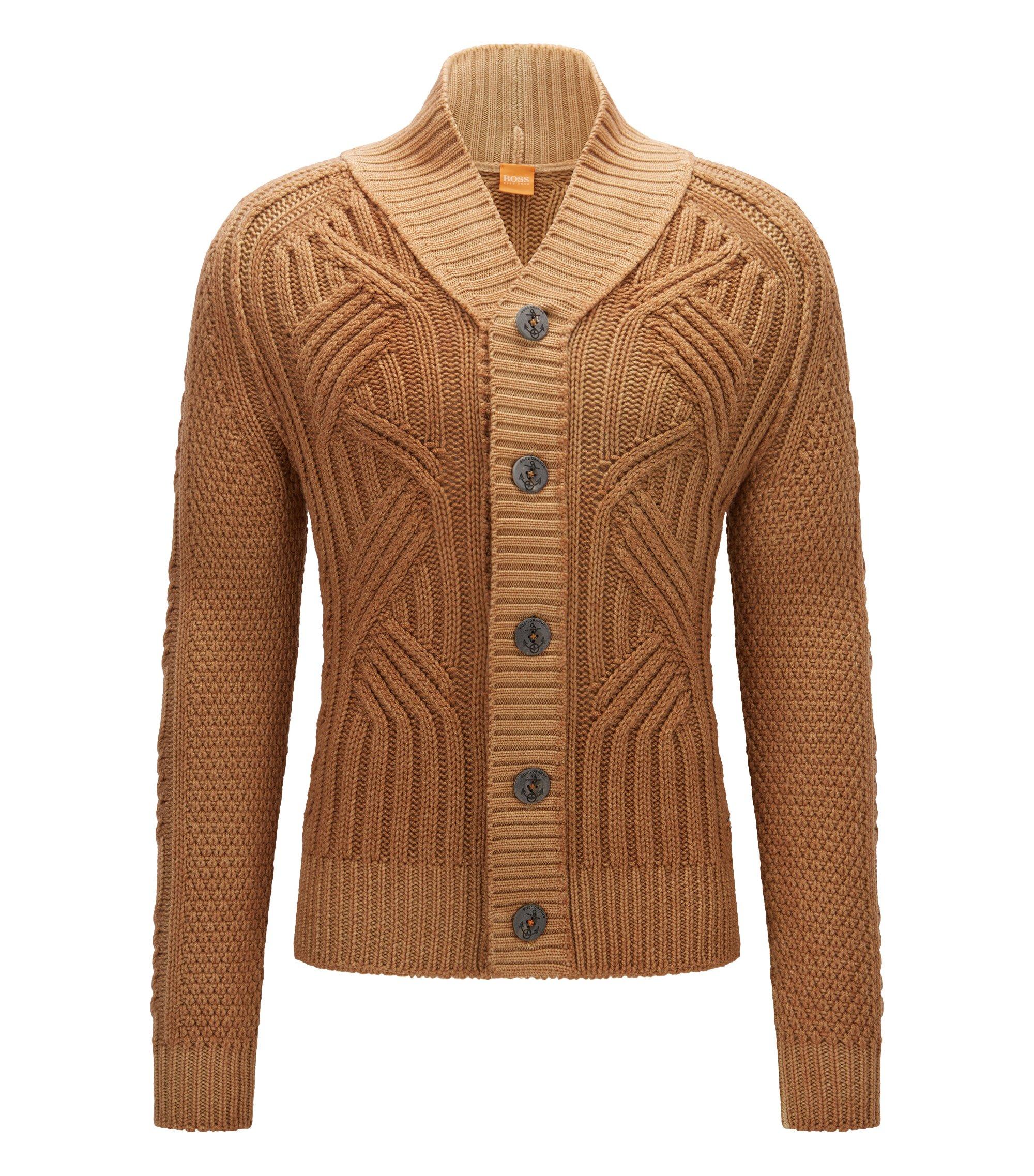 Cable Knit Virgin Wool Cardigan | Kalamos, Beige