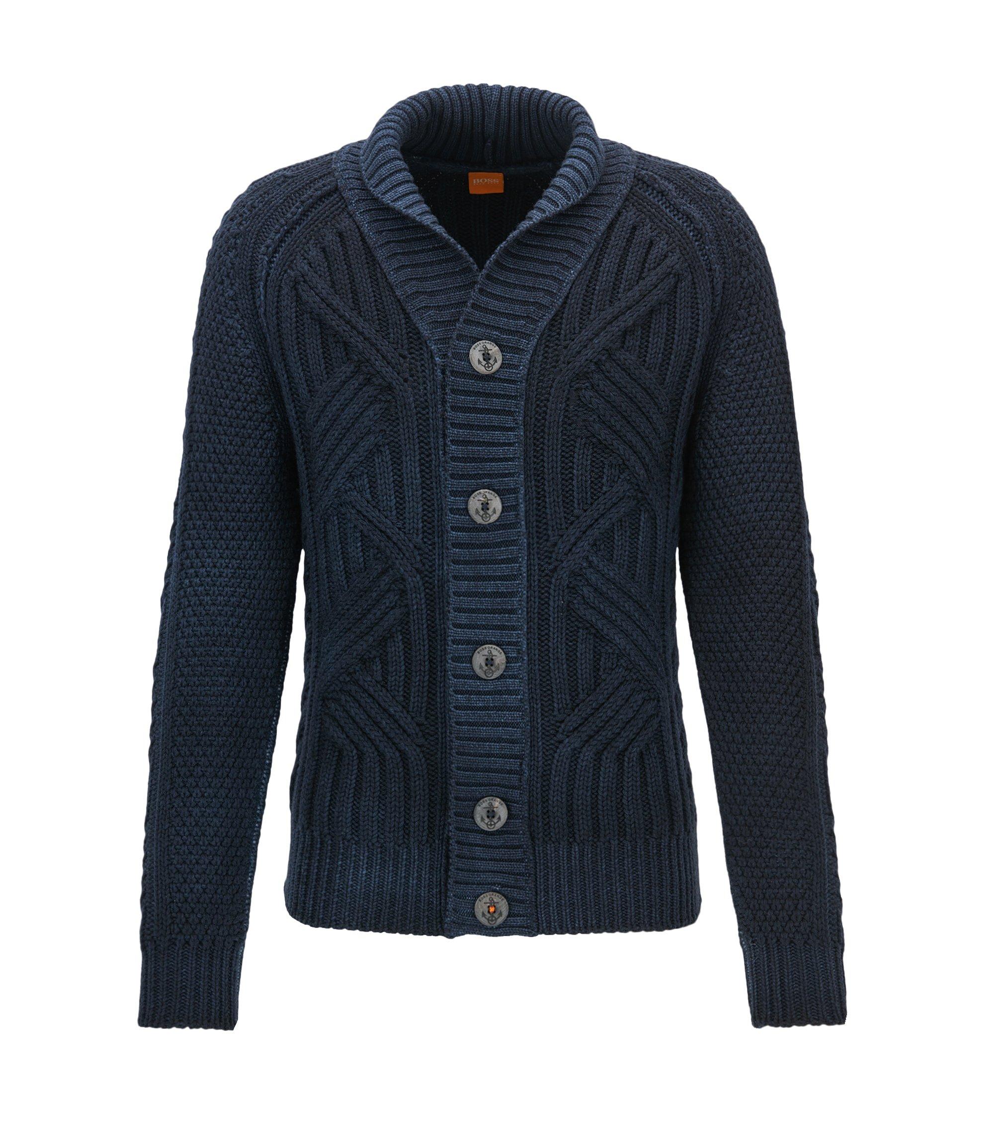 Cable Knit Virgin Wool Cardigan | Kalamos, Dark Blue