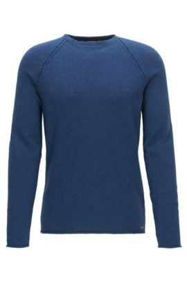 'Kohedge' | Wool-Cotton Blend Sweater, Dark Blue