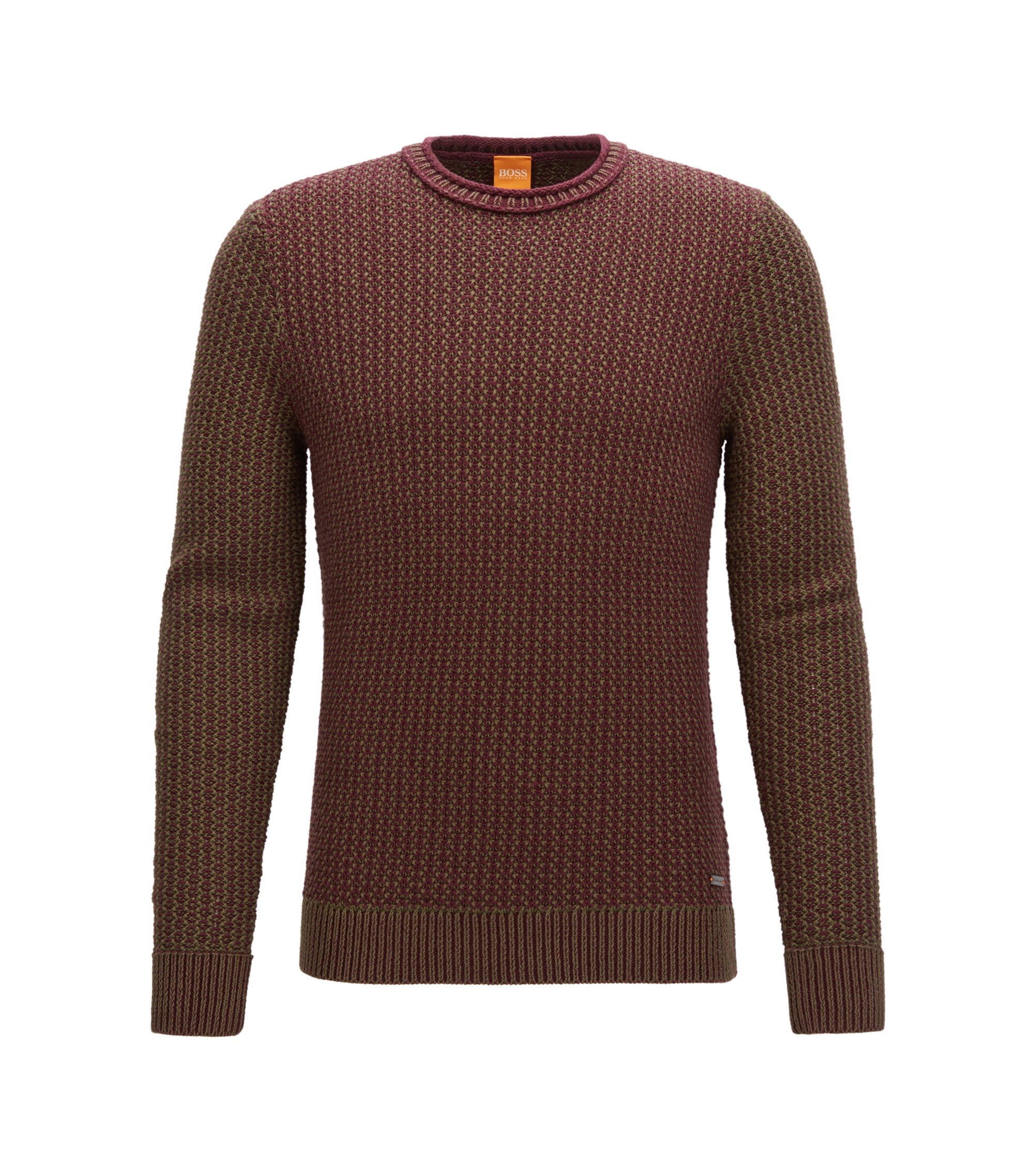 Dobby Cotton Sweater   Kindpaul, Open Red