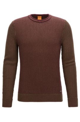 Dobby Cotton Sweater | Kindpaul, Open Red