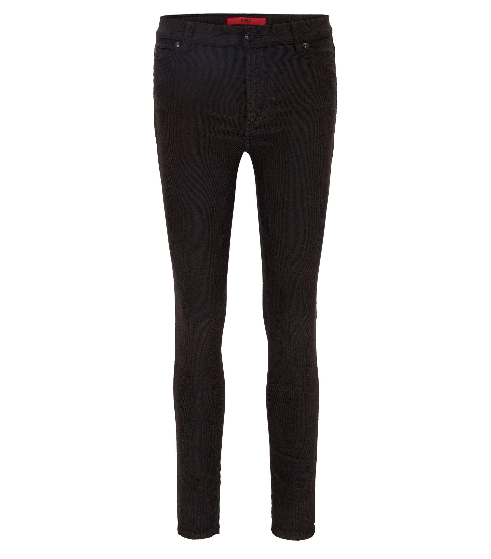 Stretch Cotton Corduroy Pants, Extra Slim Fit   Georgina, Black