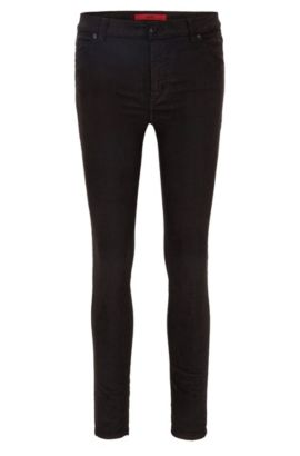 Stretch Cotton Corduroy Pants, Extra Slim Fit | Georgina, Black
