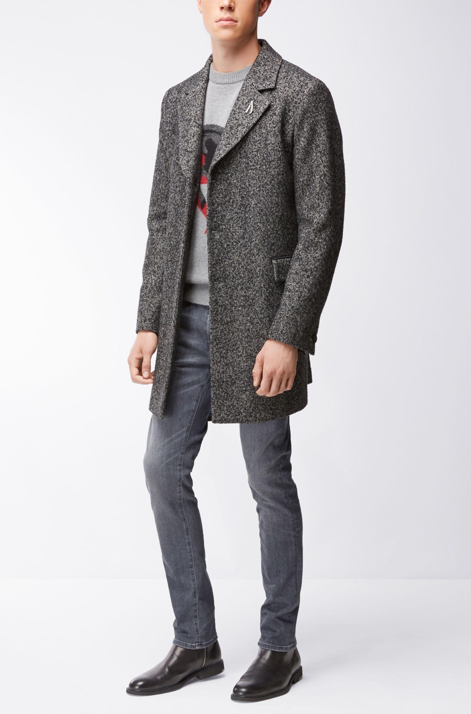 'Kintars' | Unicorn Virgin Wool-Alpaca Blend Intarsia Sweater, Light Grey