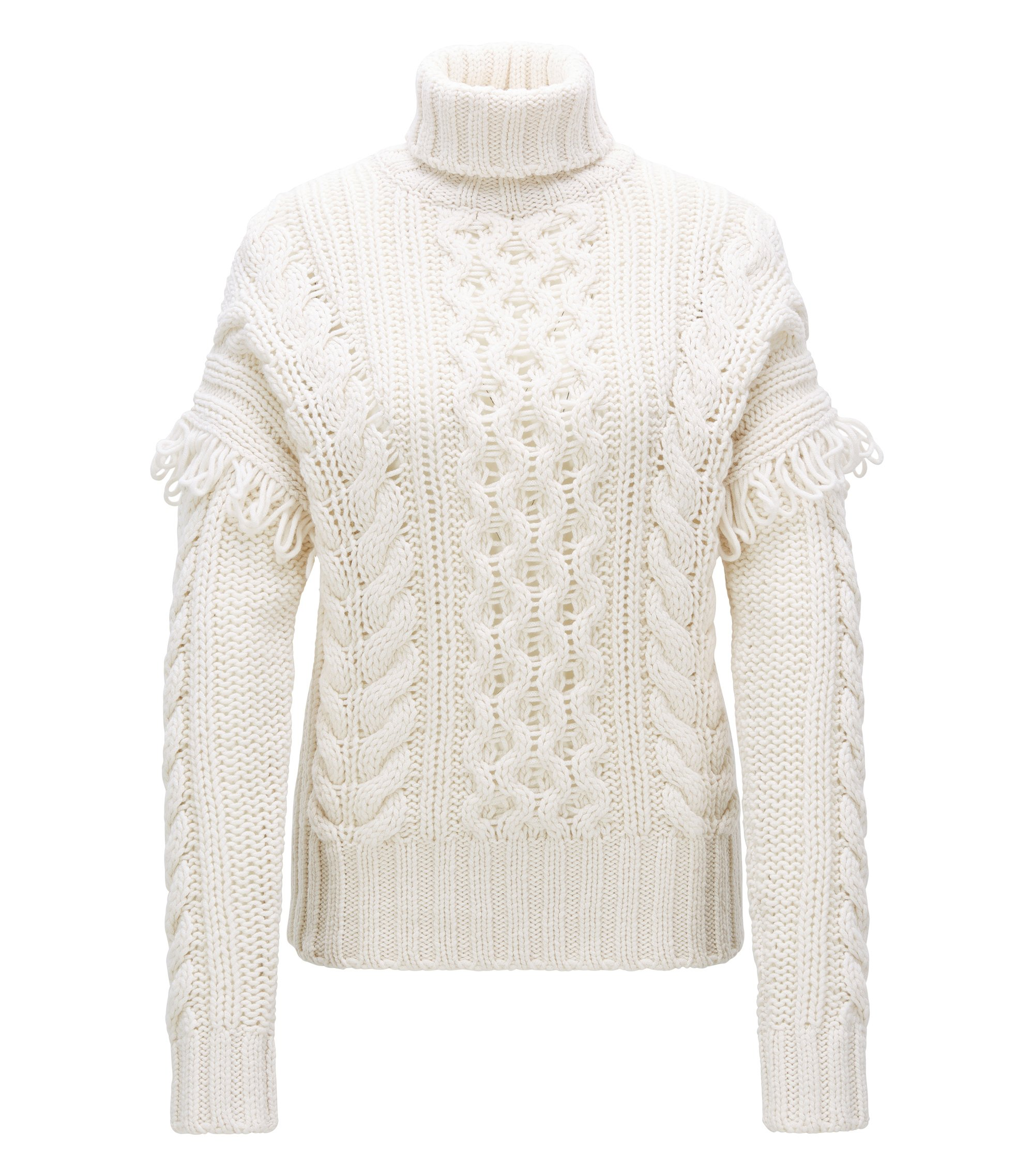 Virgin Wool Cable-Knit Sweater | Sabriyya, Natural