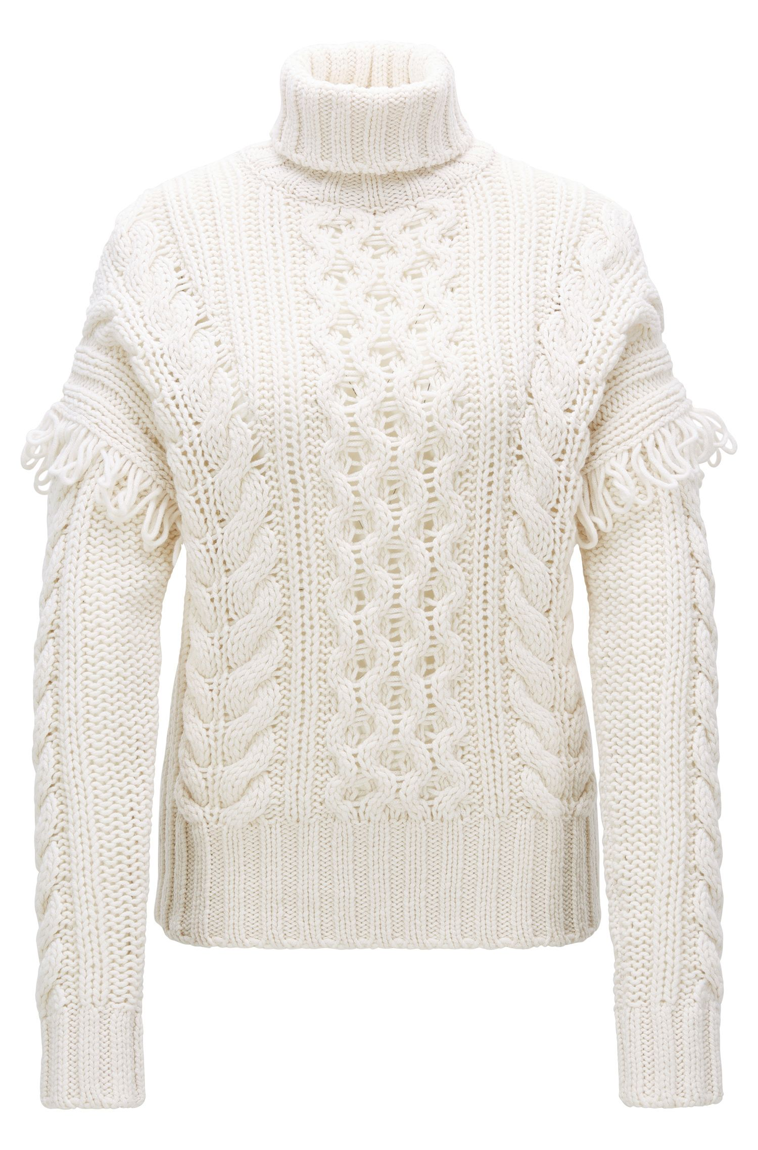 Virgin Wool Cable-Knit Sweater | Sabriyya