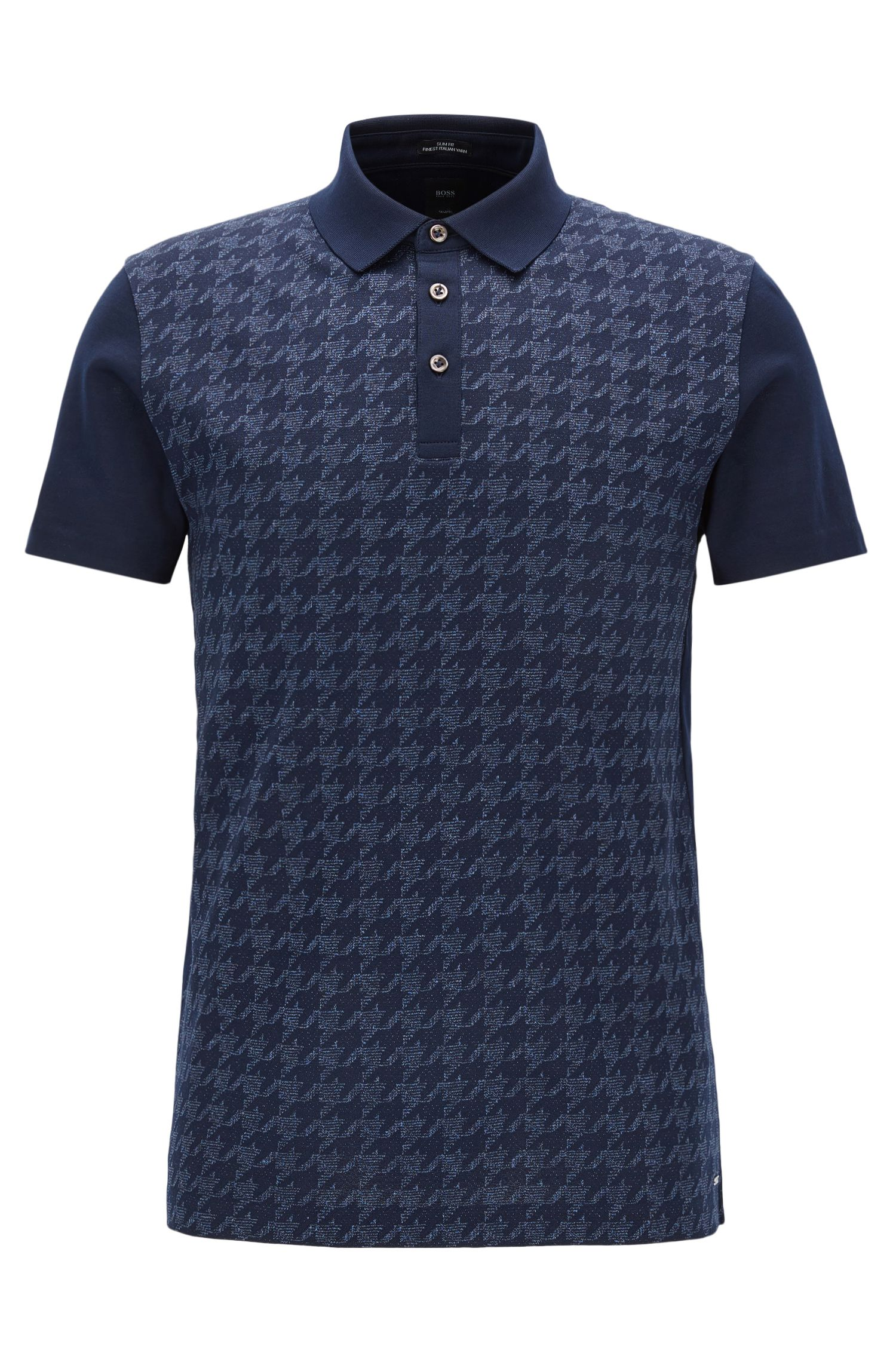 Houndstooth Italian Cotton Polo Shirt, Slim Fit | T-Peterson