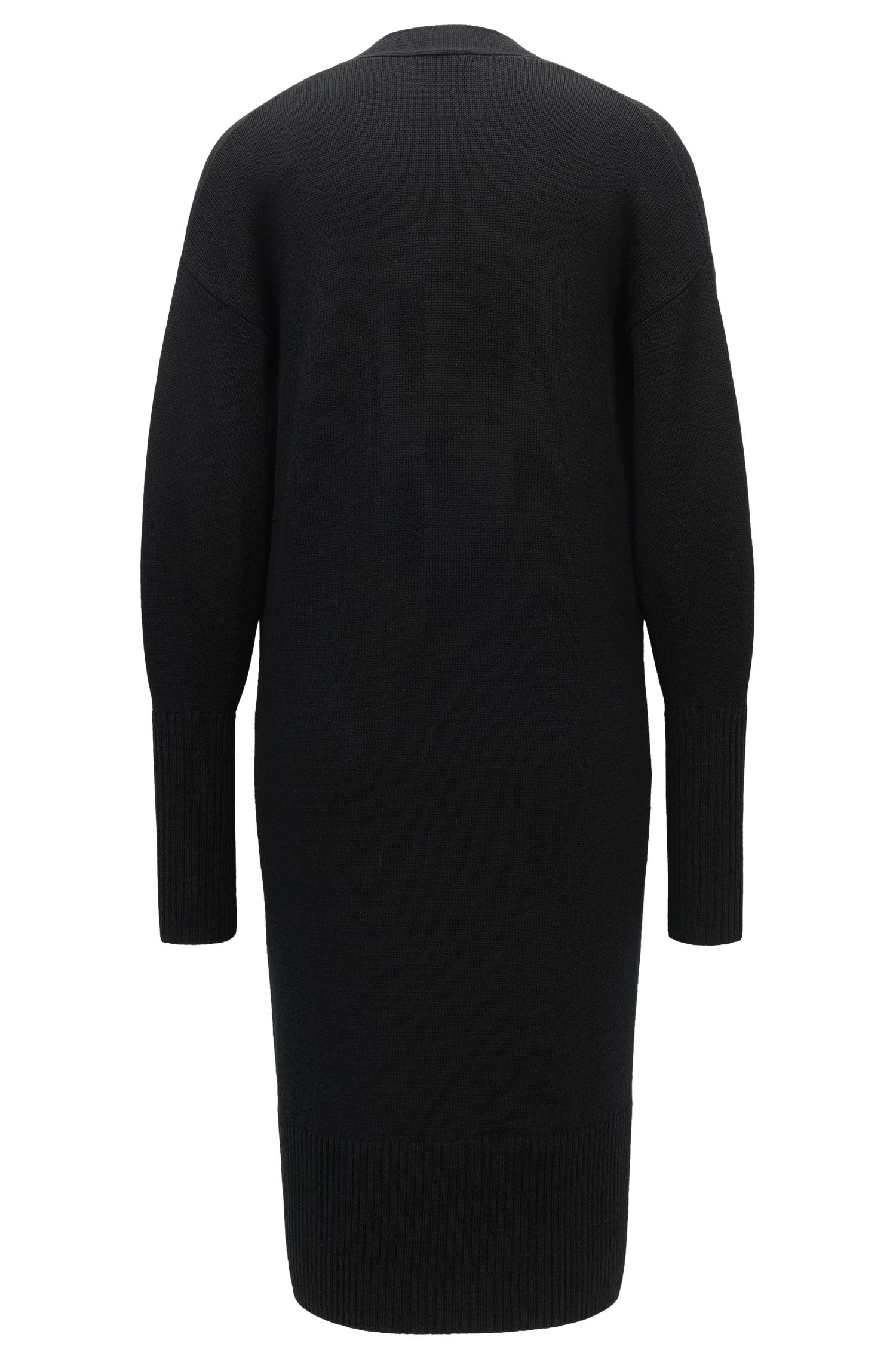 Virgin Wool Long Cardigan | Saleh, Black